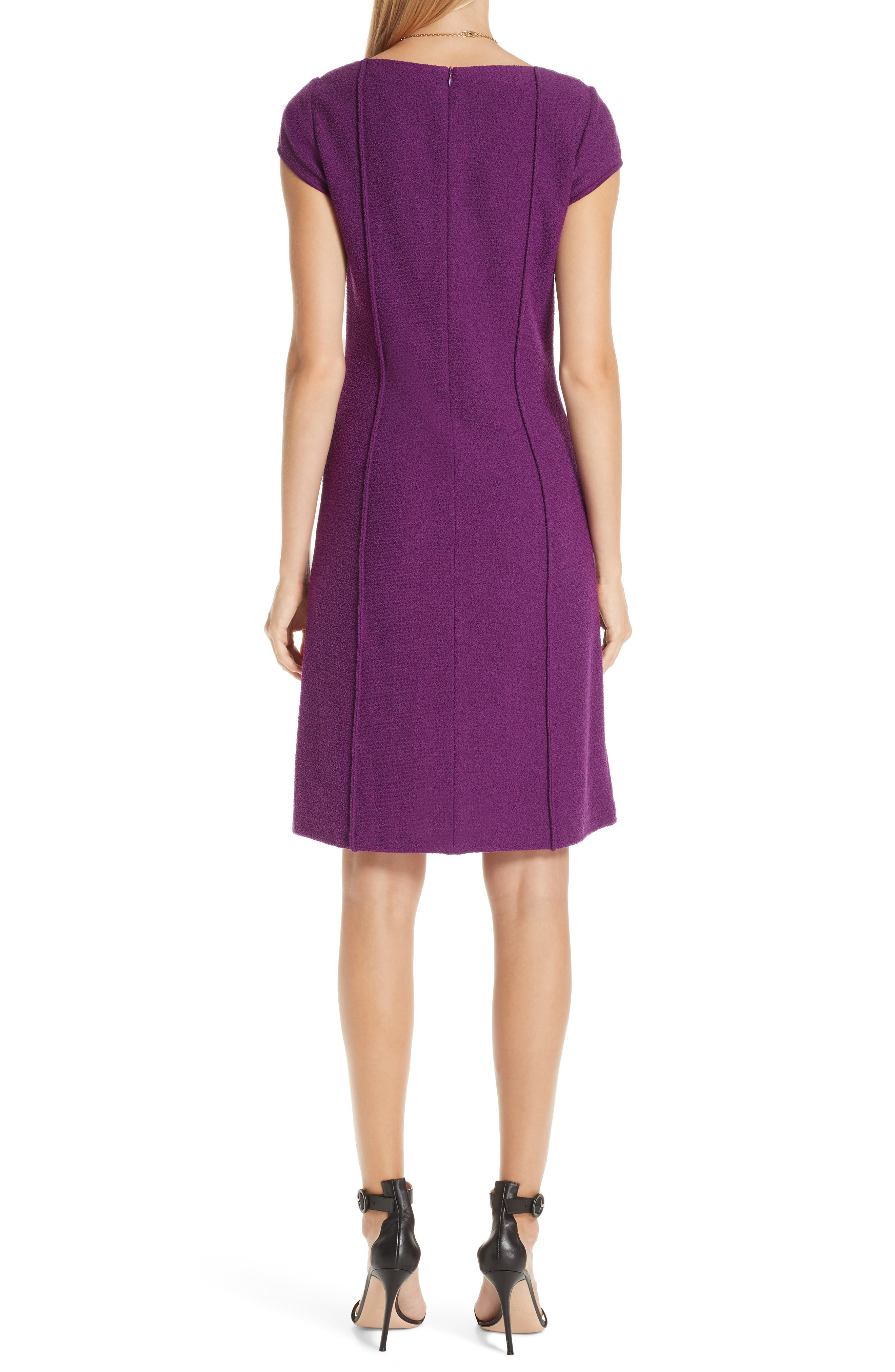 ST. JOHN COLLECTION, Ana Bouclé Knit Dress, Main thumbnail 1, color, IRIS