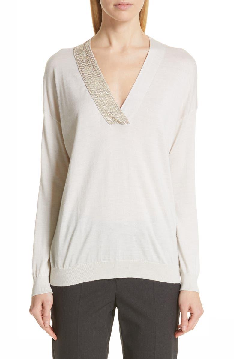 Brunello Cucinelli Sweaters MONILI & SEQUIN EMBELLISHED CASHMERE & SILK SWEATER