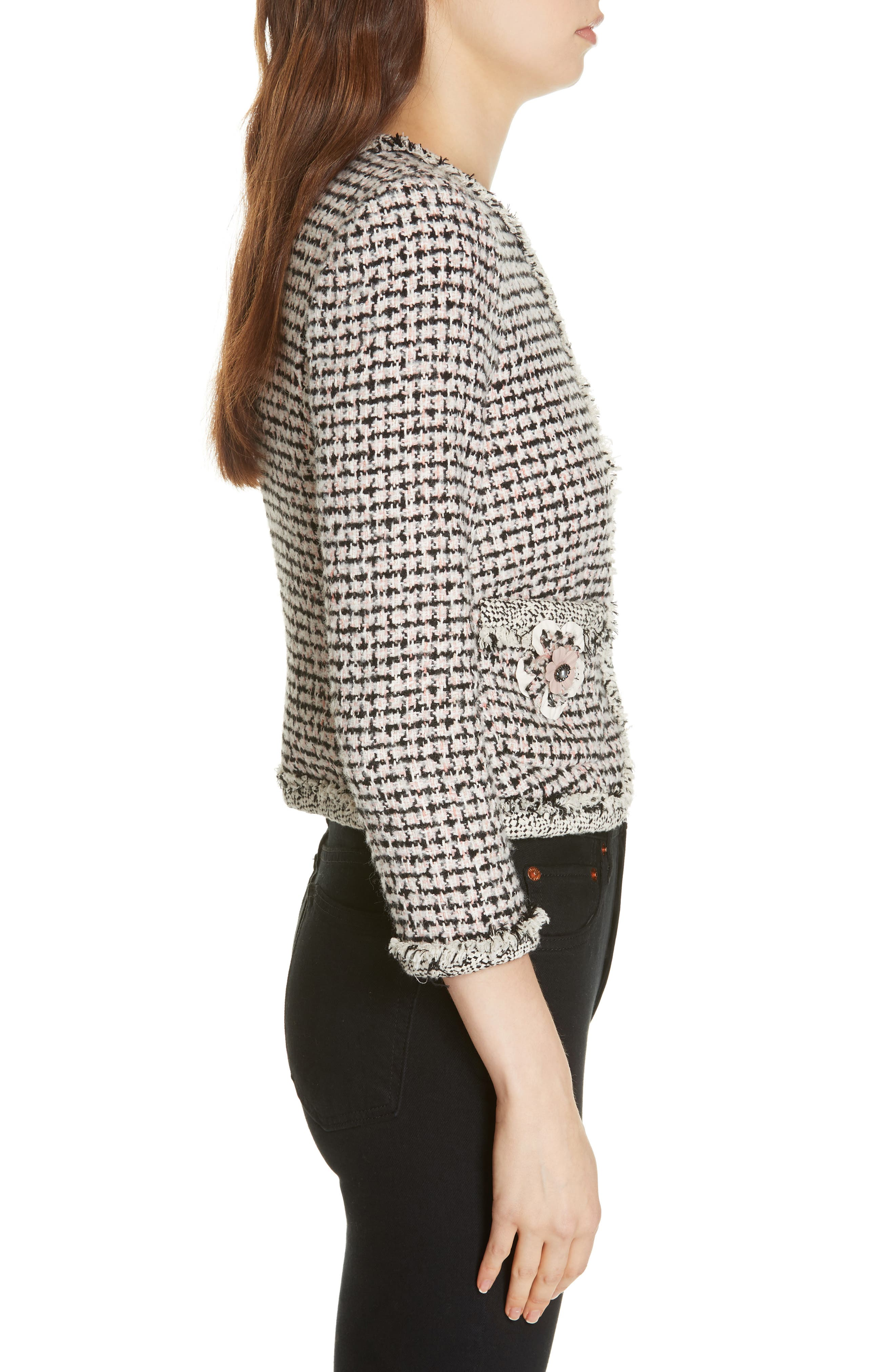REBECCA TAYLOR, Houndstooth Tweed Jacket, Alternate thumbnail 4, color, BLACK/ PINK COMBO