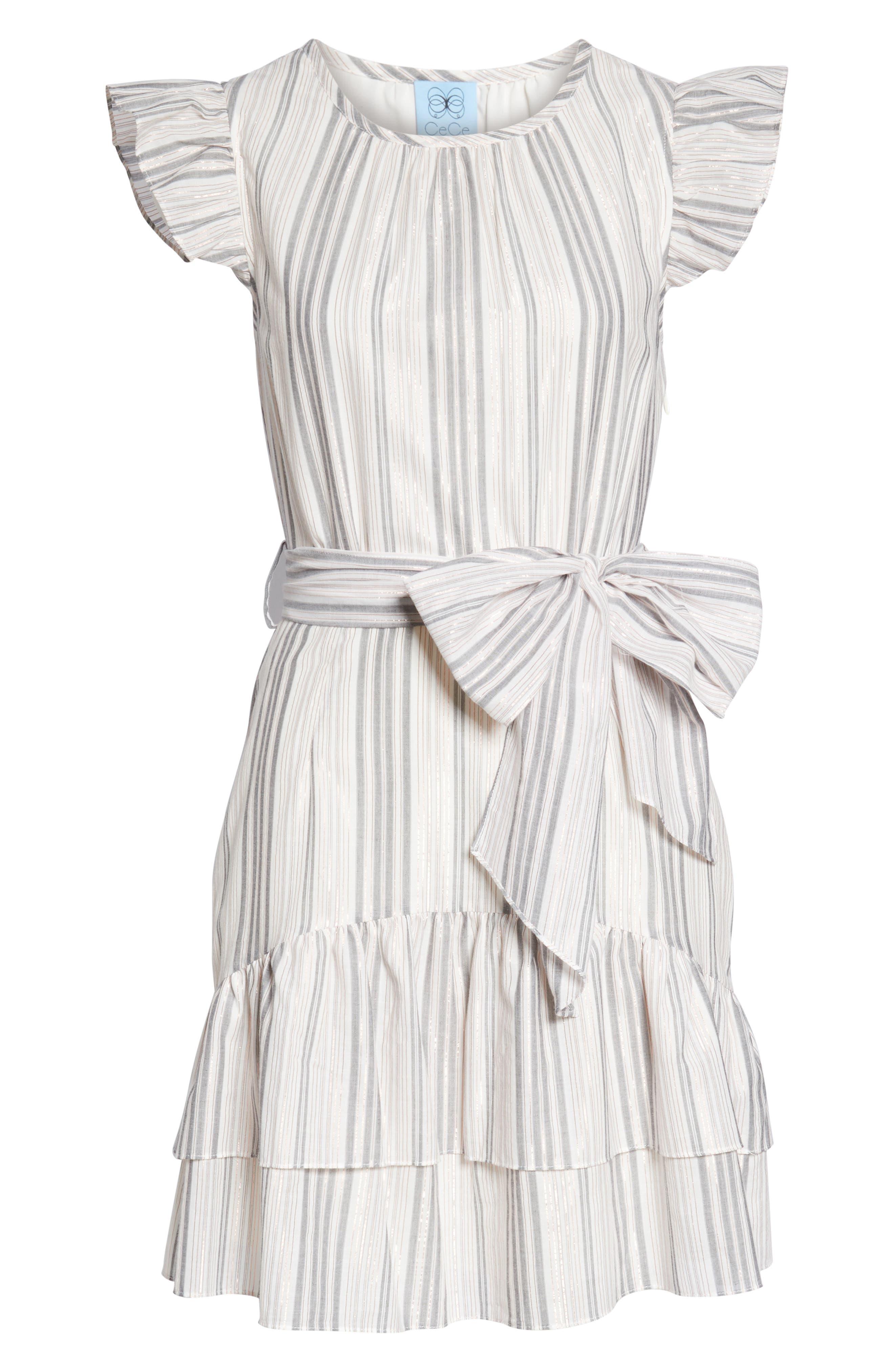CECE, Ruffle Flutter Sleeve Dress, Alternate thumbnail 5, color, SOFT ECRU
