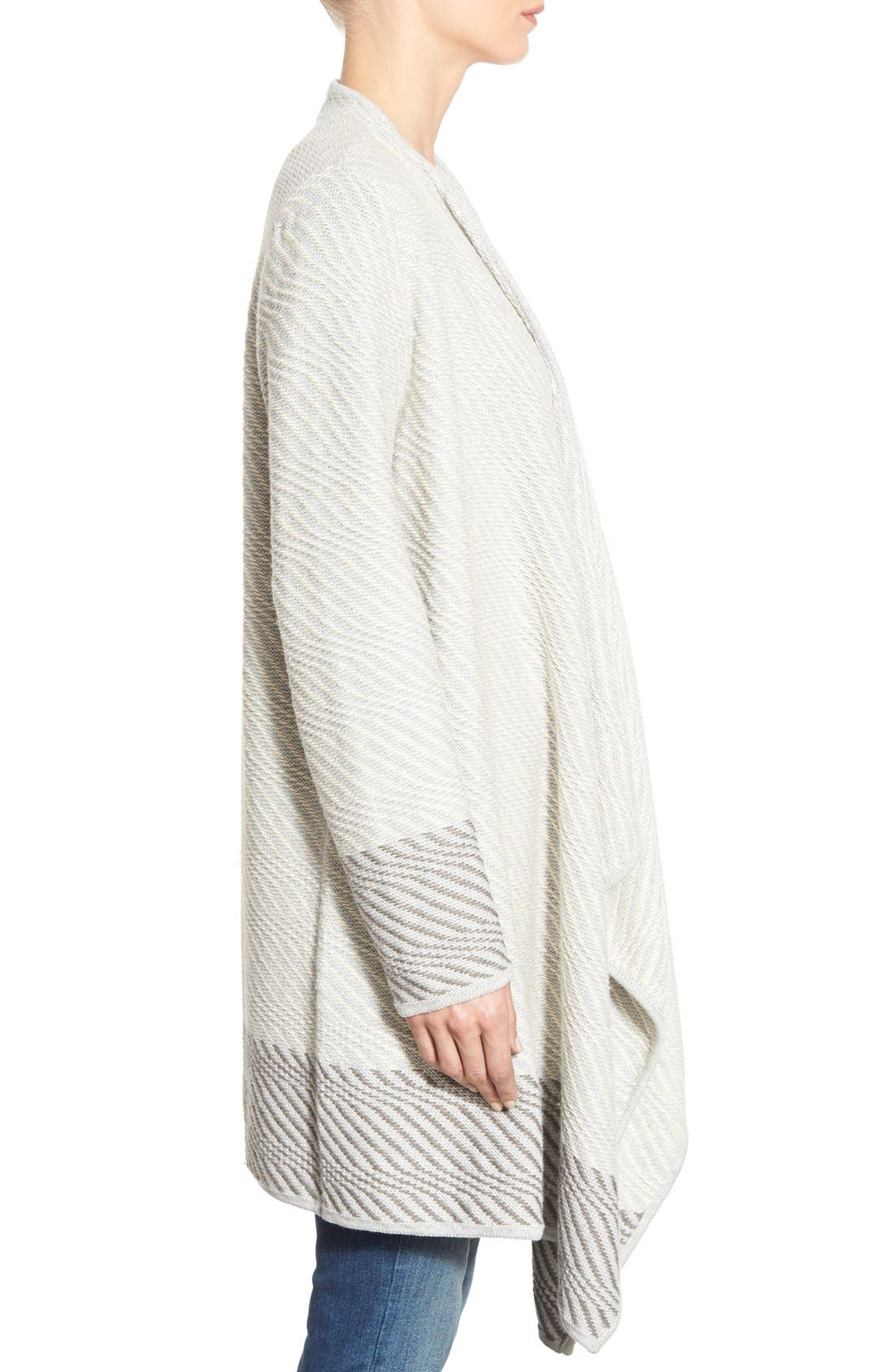 LUCKY BRAND, Waterfall Cardigan, Alternate thumbnail 4, color, 100
