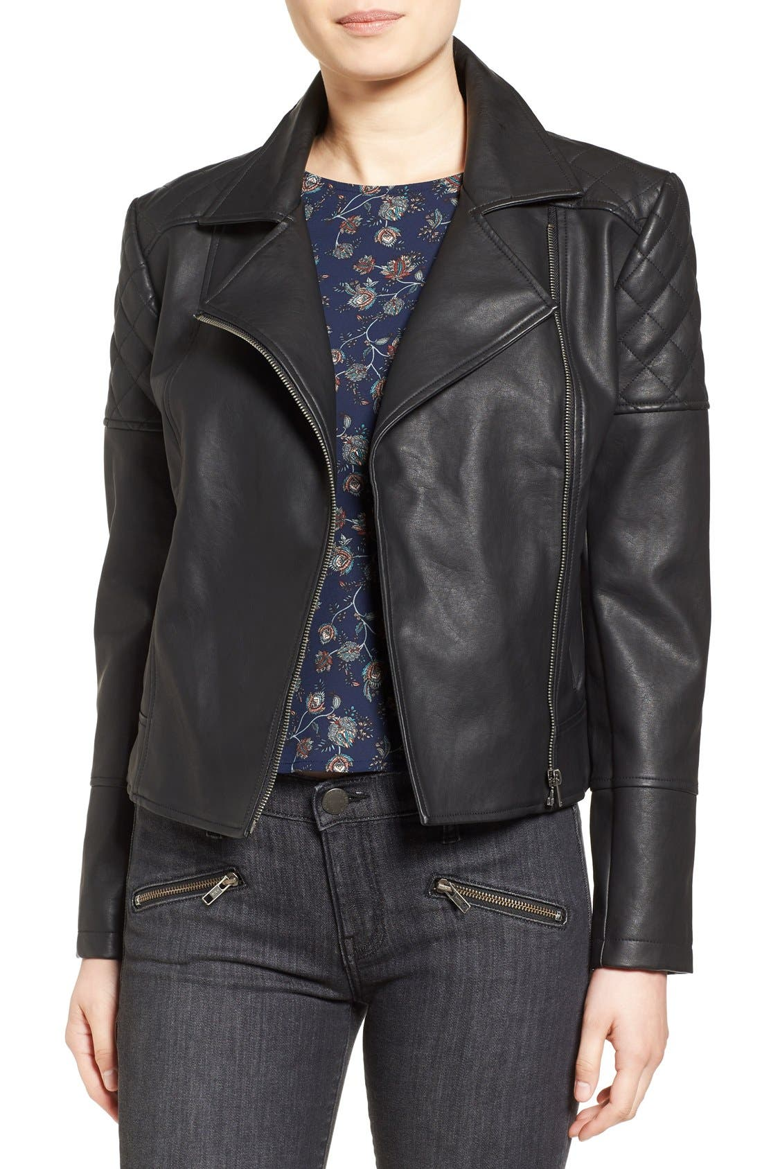 CUPCAKES AND CASHMERE, 'Breck' Faux Leather Moto Jacket, Main thumbnail 1, color, 001