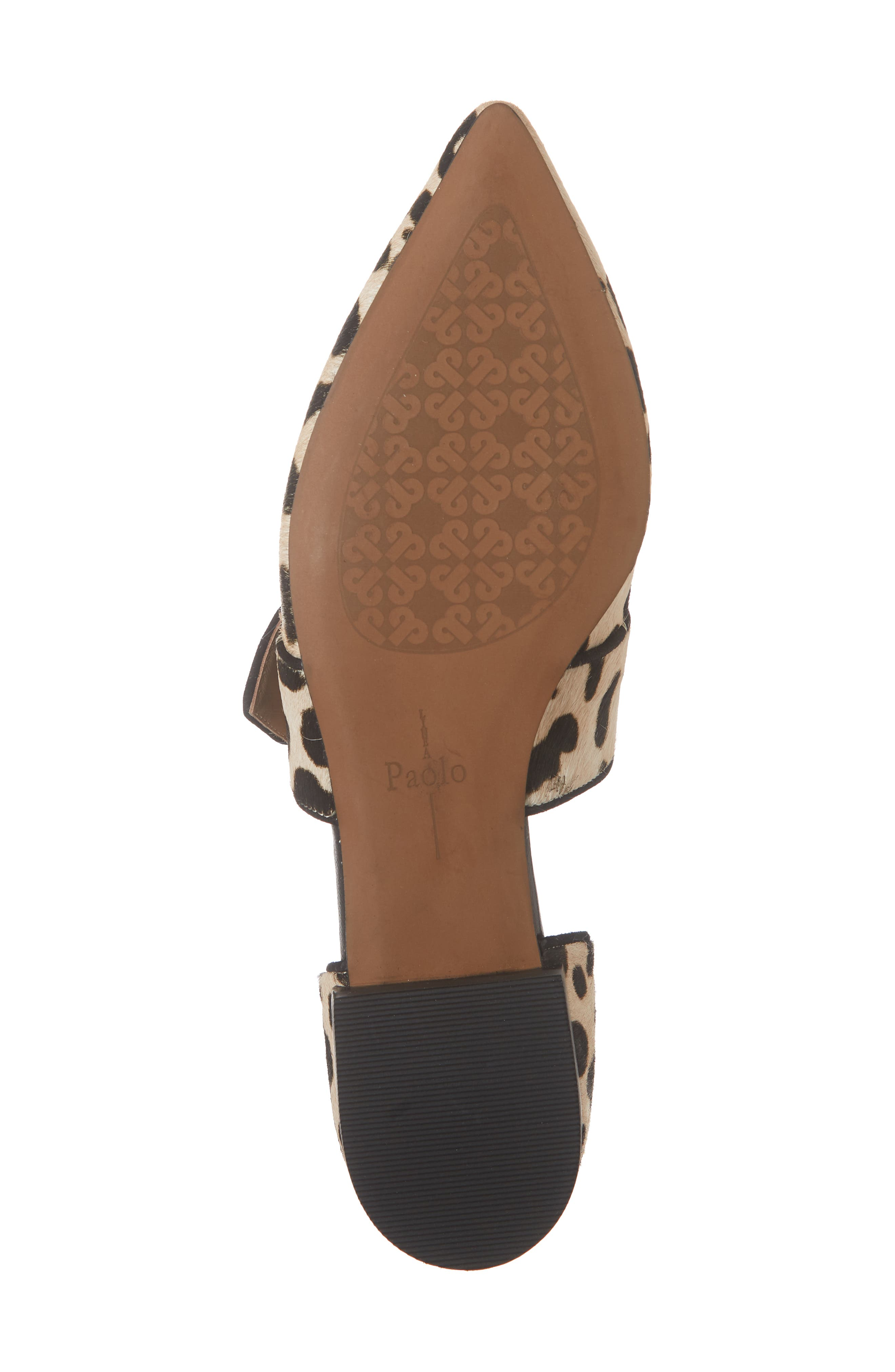 LINEA PAOLO, Dean Pointy Toe Flat, Alternate thumbnail 6, color, WHITE/ BLACK PRINT HAIRCALF