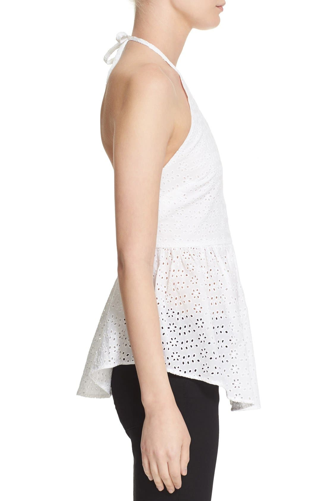 ELIZABETH AND JAMES, 'Perth' Eyelet Peplum Halter Top, Alternate thumbnail 4, color, 100