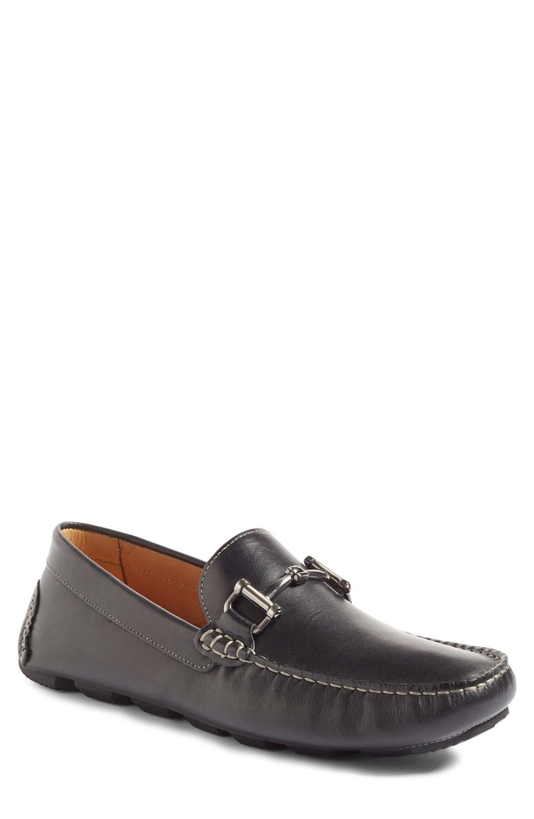 1901 Marco Driving Shoe, Main, color, BLACK LEATHER