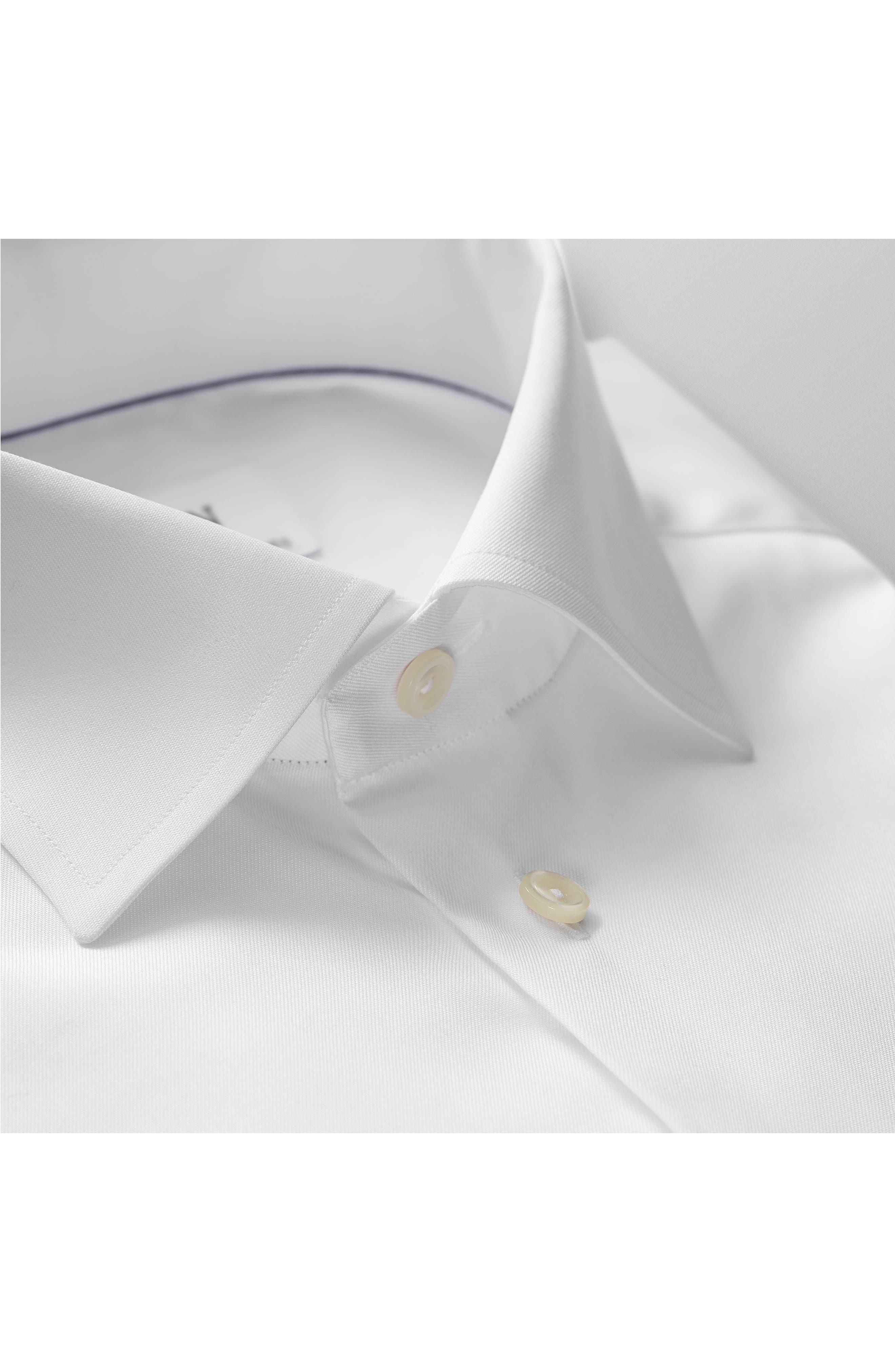 ETON, Slim Fit Twill Dress Shirt, Alternate thumbnail 6, color, WHITE