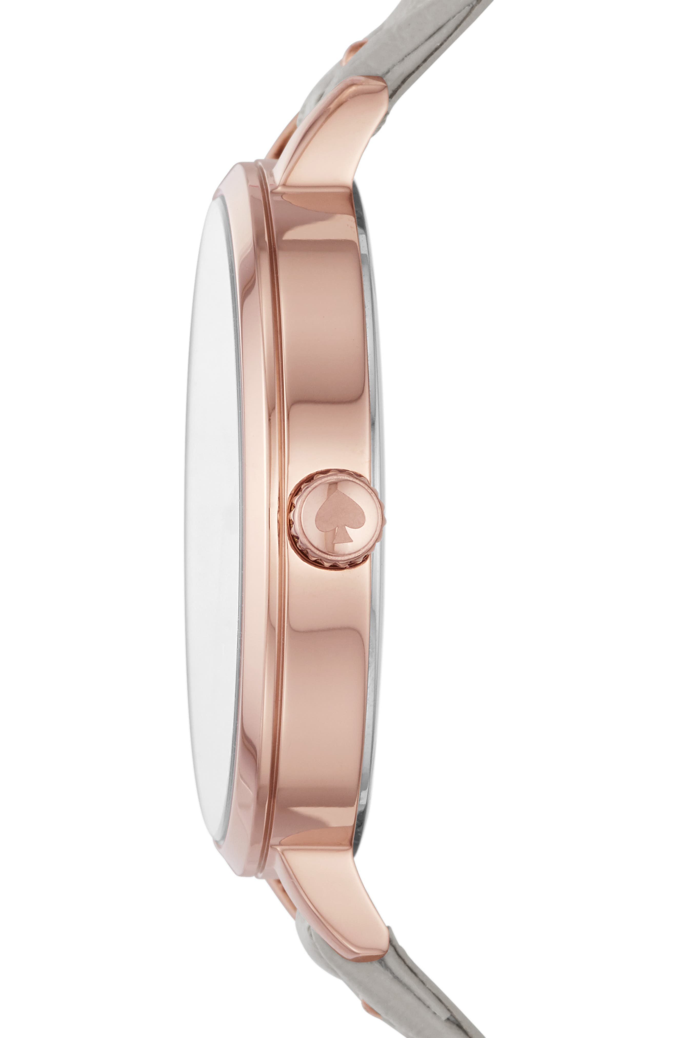 KATE SPADE NEW YORK, metro leather strap watch, 34mm, Alternate thumbnail 2, color, GREY/ MOP/ ROSE GOLD