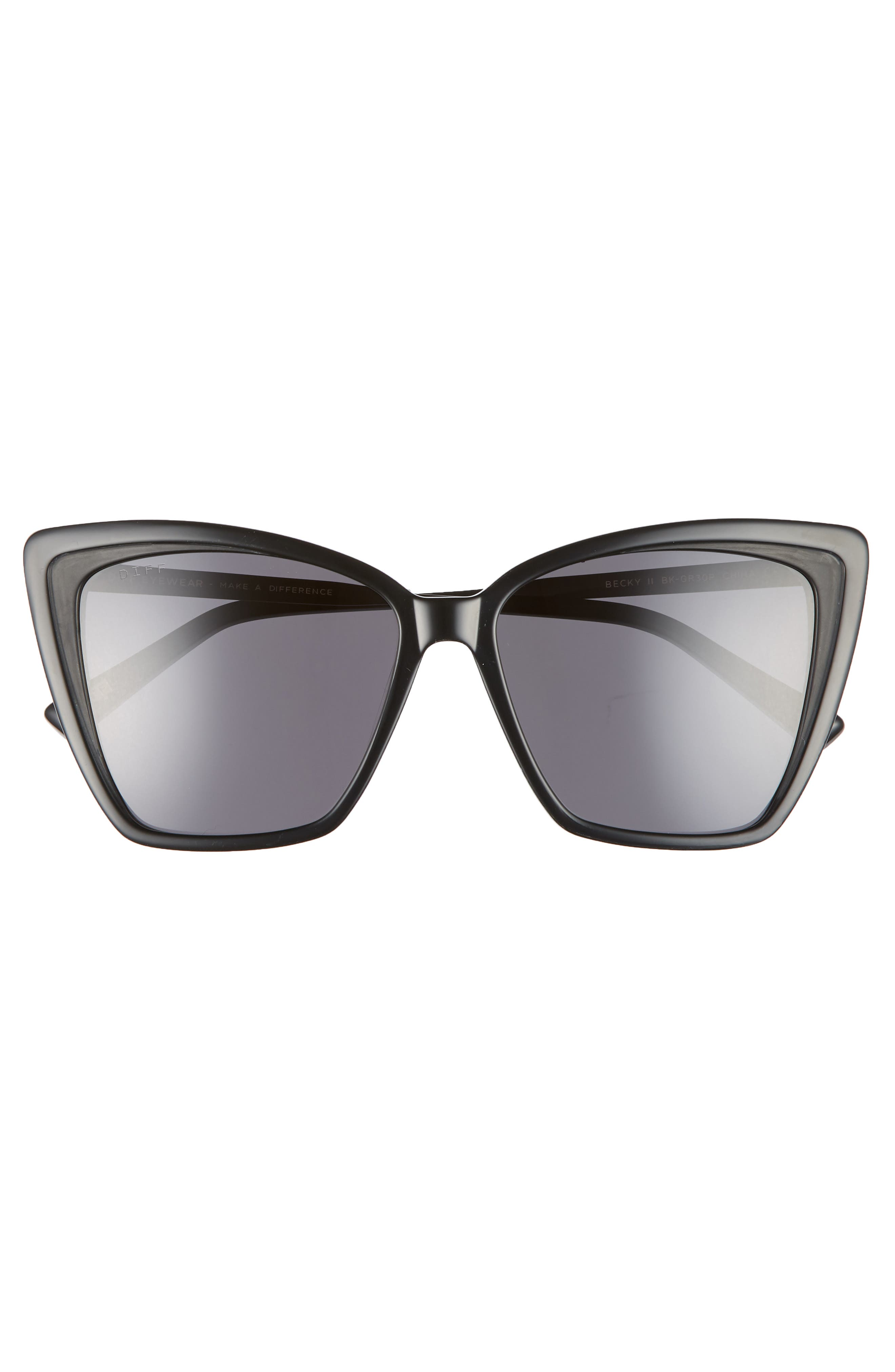 DIFF, Becky II 55mm Cat Eye Sunglasses, Alternate thumbnail 3, color, BLACK/ DARK SMOKE