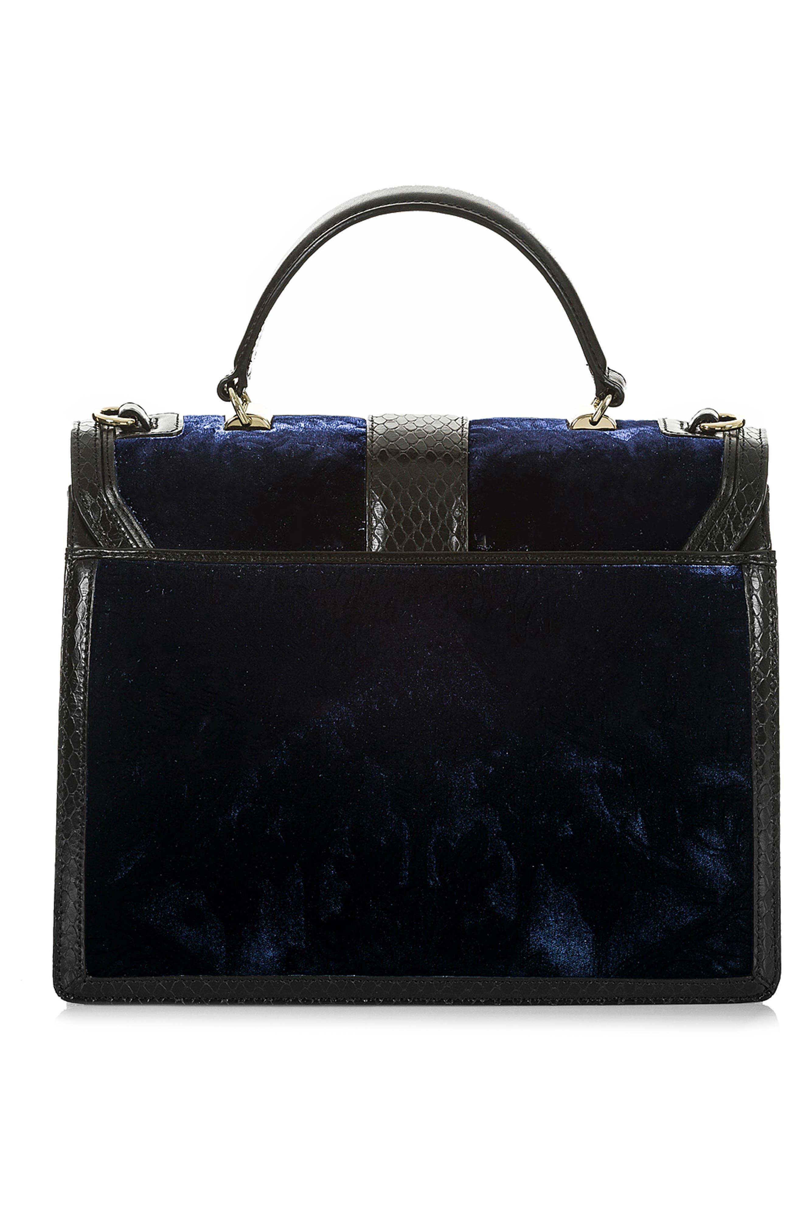 BRAHMIN, Medium Francine Snake Embossed Leather & Velvet Satchel, Alternate thumbnail 2, color, NAVY
