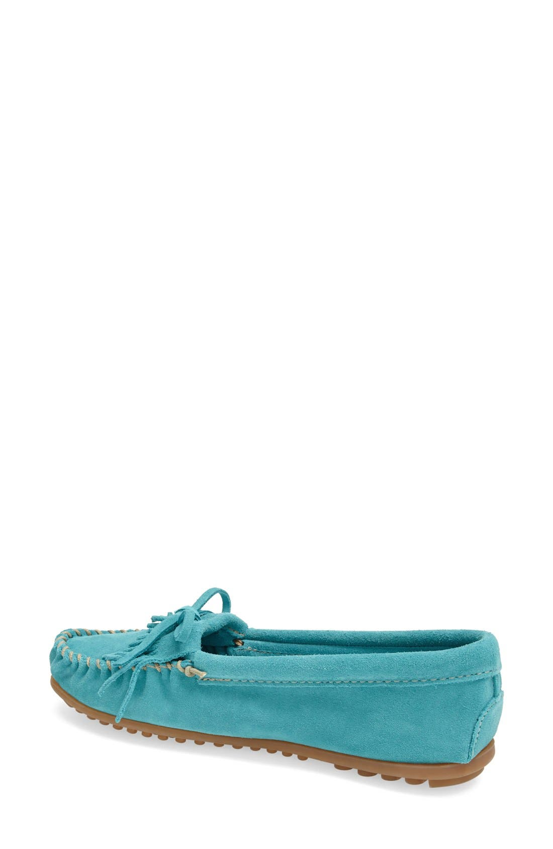 MINNETONKA, 'Kilty' Suede Moccasin, Alternate thumbnail 3, color, TURQUOISE