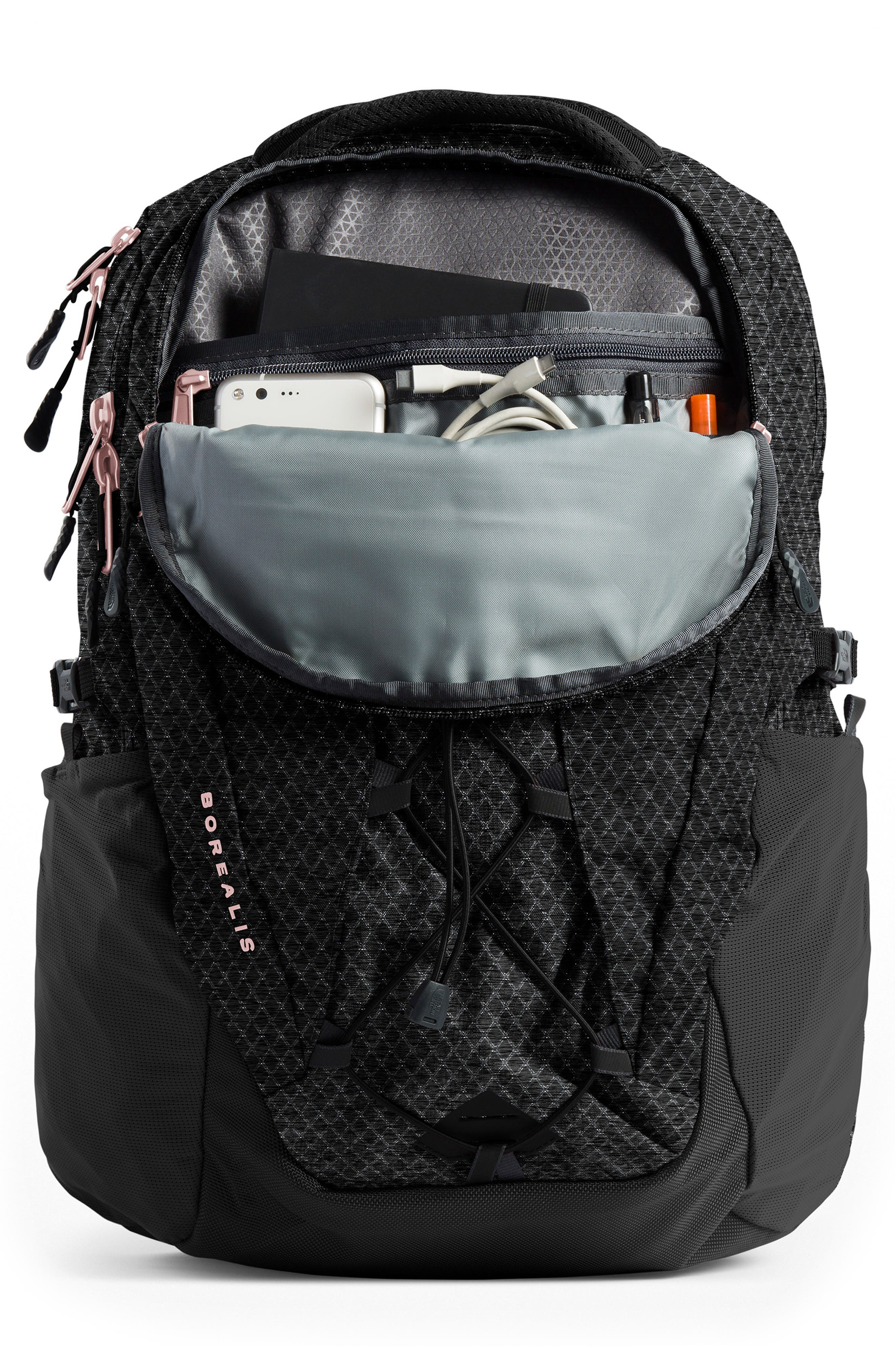 THE NORTH FACE, Borealis Backpack, Alternate thumbnail 5, color, TNF BLACK/ BURNT CORAL