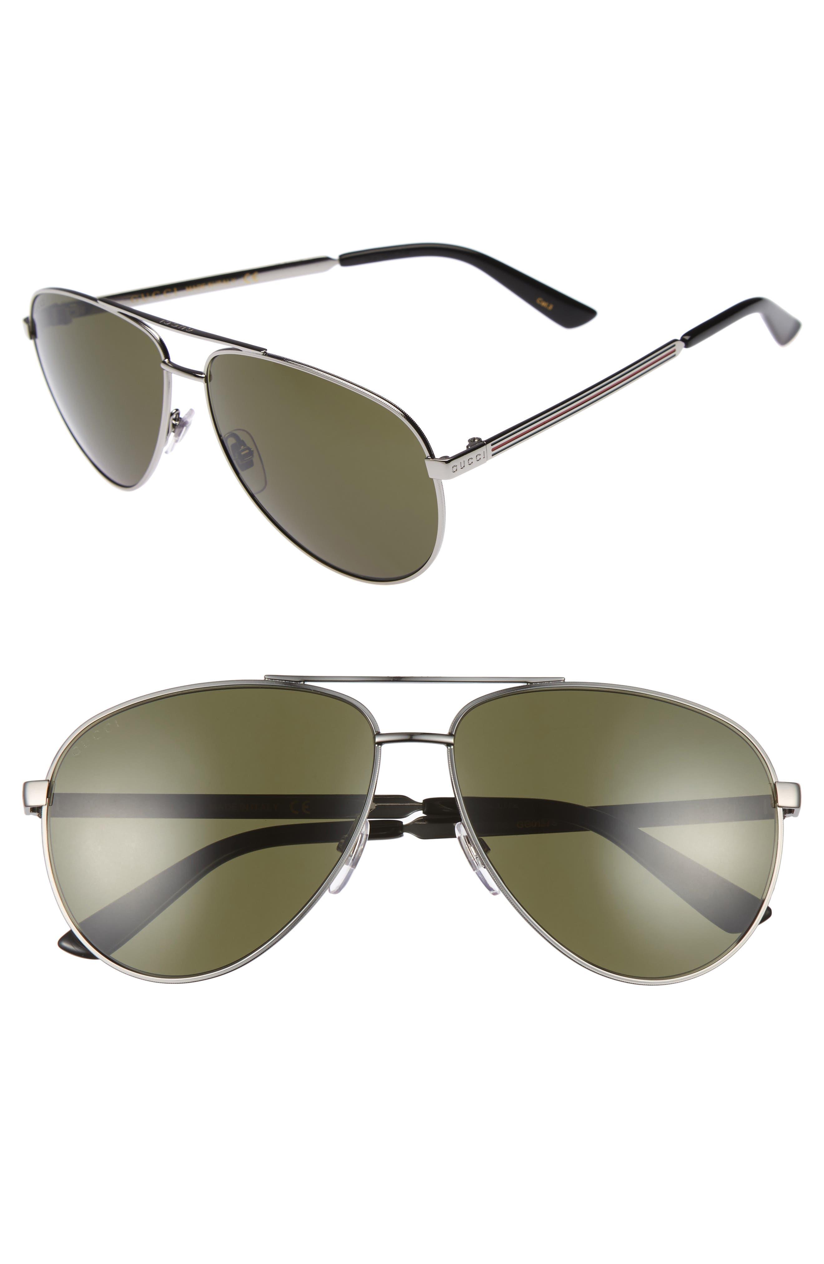 GUCCI 61mm Aviator Sunglasses, Main, color, 042
