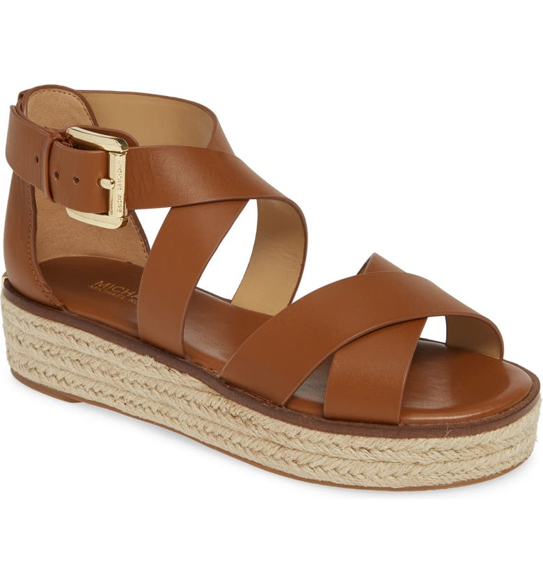 548a021033b9 Michael Michael Kors Darby Leather Flatform Espadrille Sandals In Luggage  Vachetta Leather