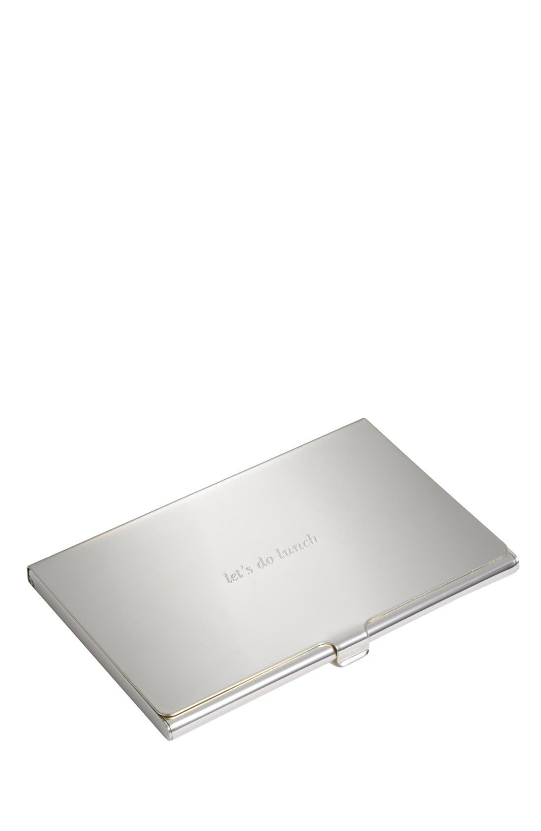 KATE SPADE NEW YORK, let's do lunch business card holder, Alternate thumbnail 2, color, SILVER
