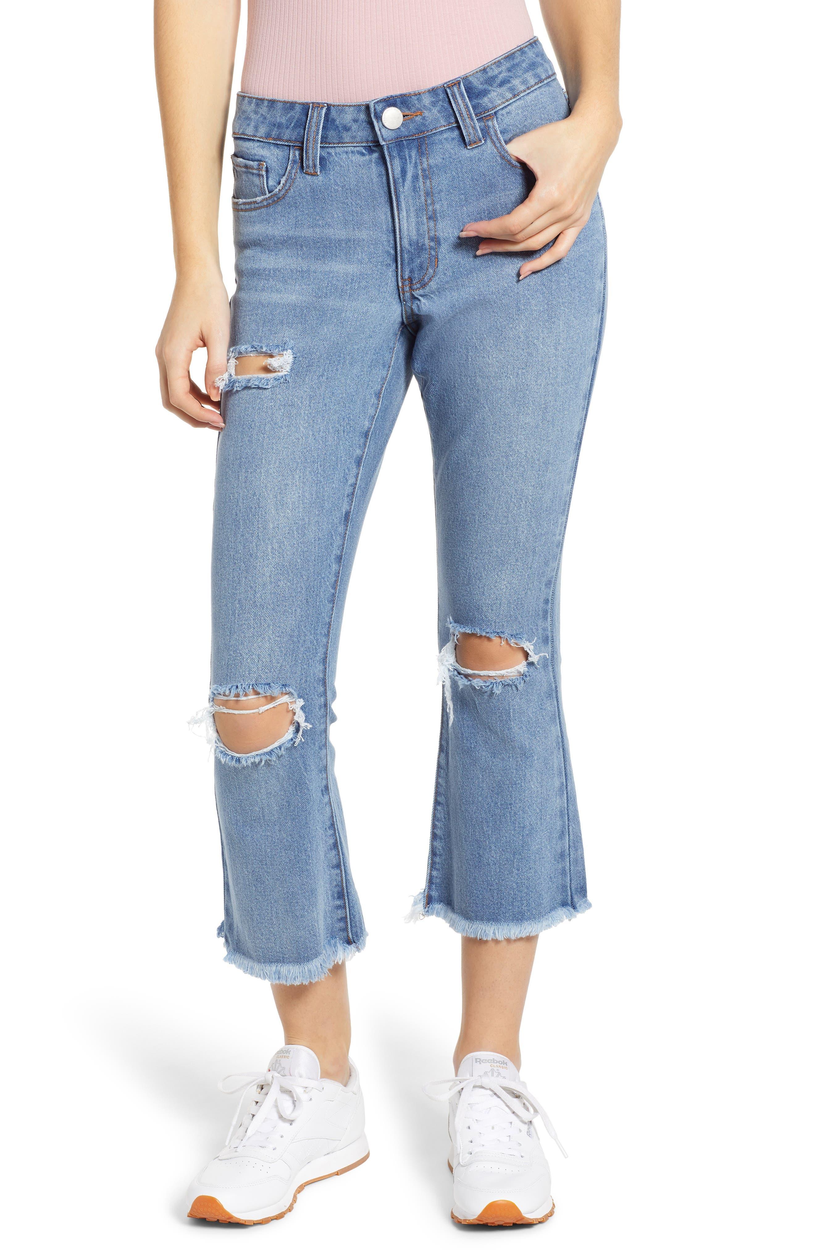 PROSPERITY DENIM, Ripped Crop Flare Jeans, Main thumbnail 1, color, MEDIUM WASH