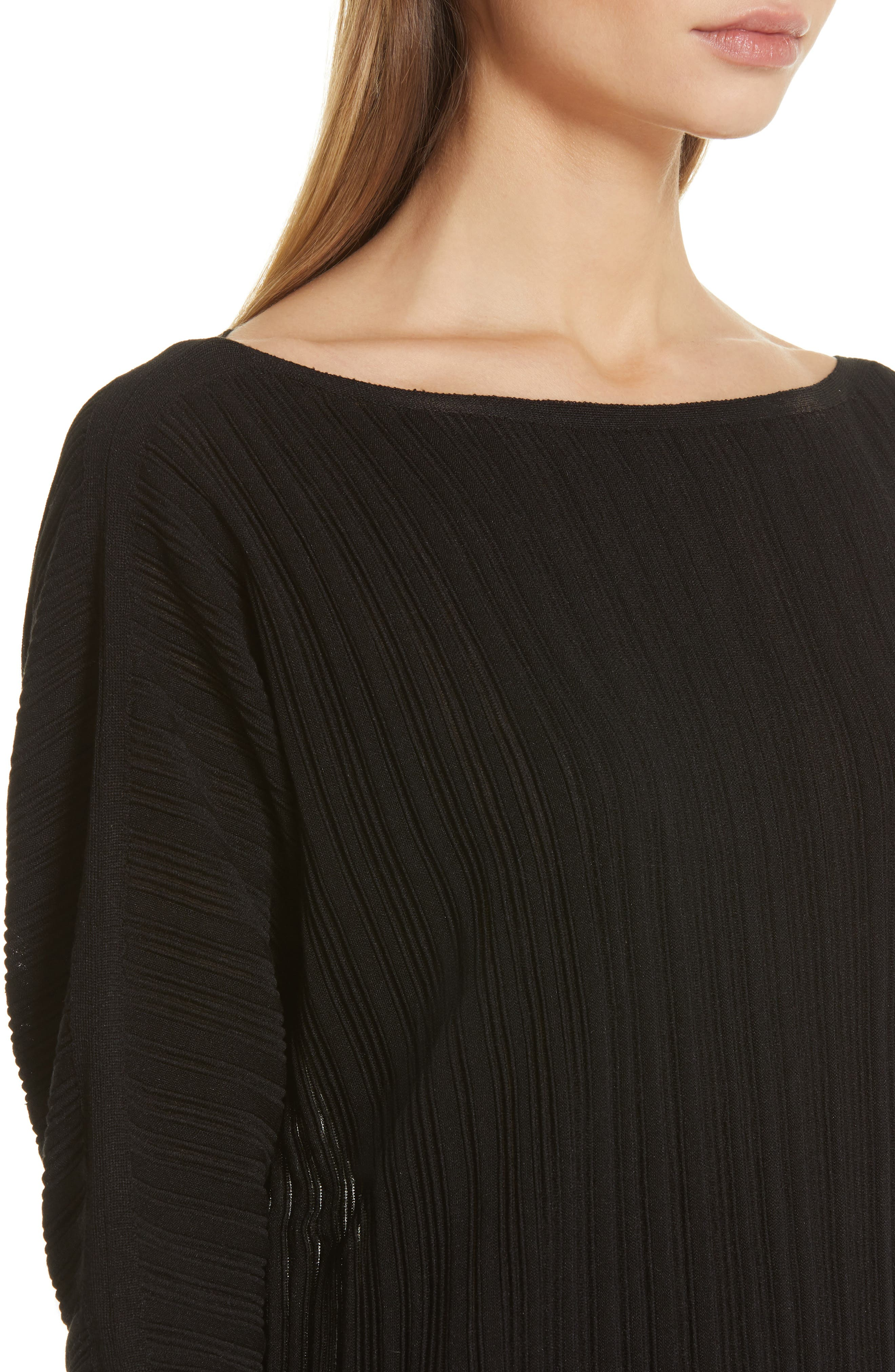LAFAYETTE 148 NEW YORK, Plissé Ribbed Dolman Sweater, Alternate thumbnail 4, color, BLACK