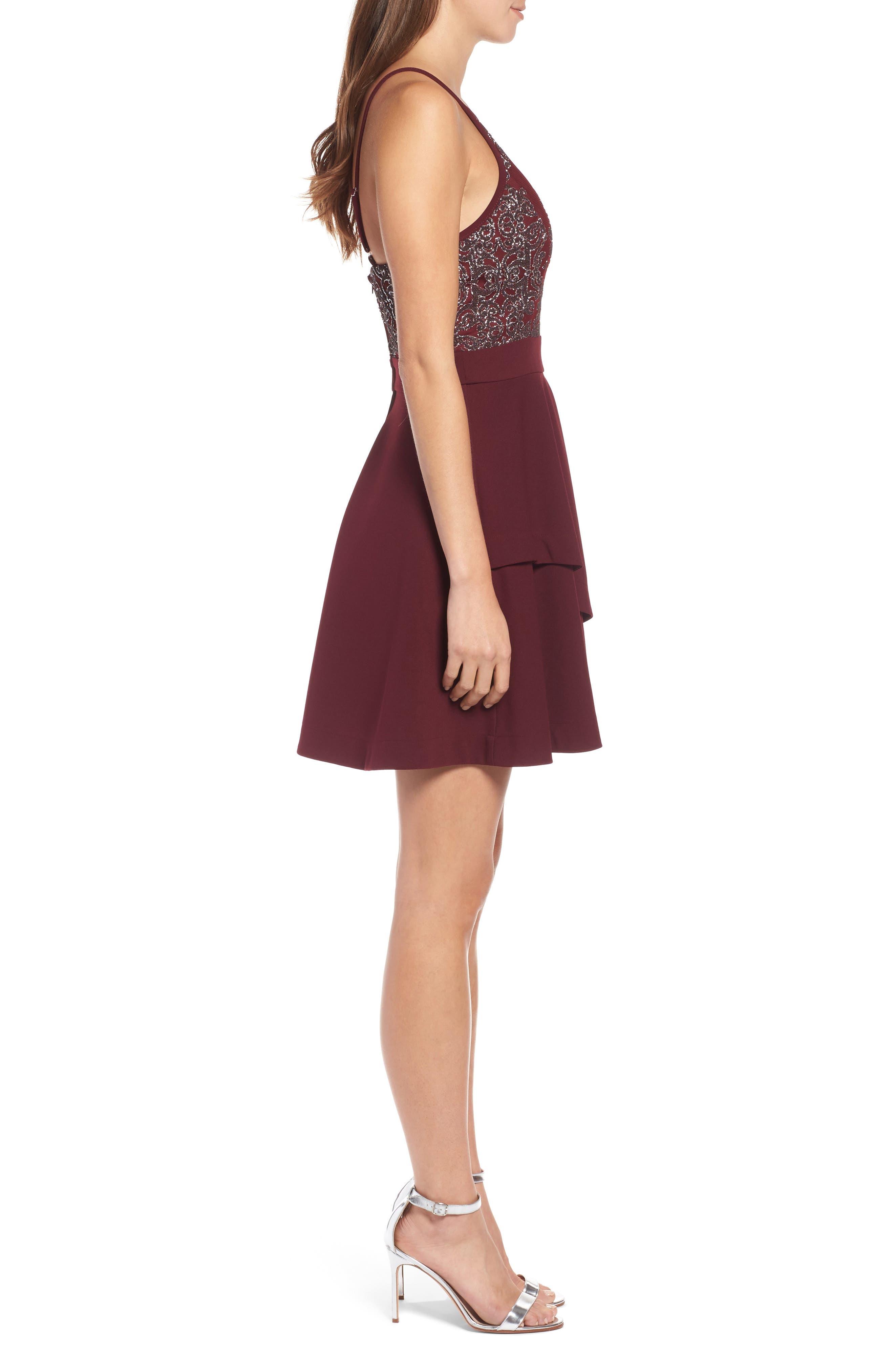 SPEECHLESS, Beaded Skater Dress, Alternate thumbnail 4, color, 930