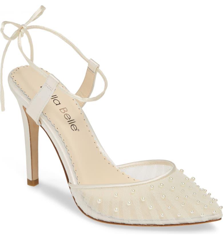 BELLA BELLE Valentina Embellished Sandal, Main, color, IVORY FABRIC