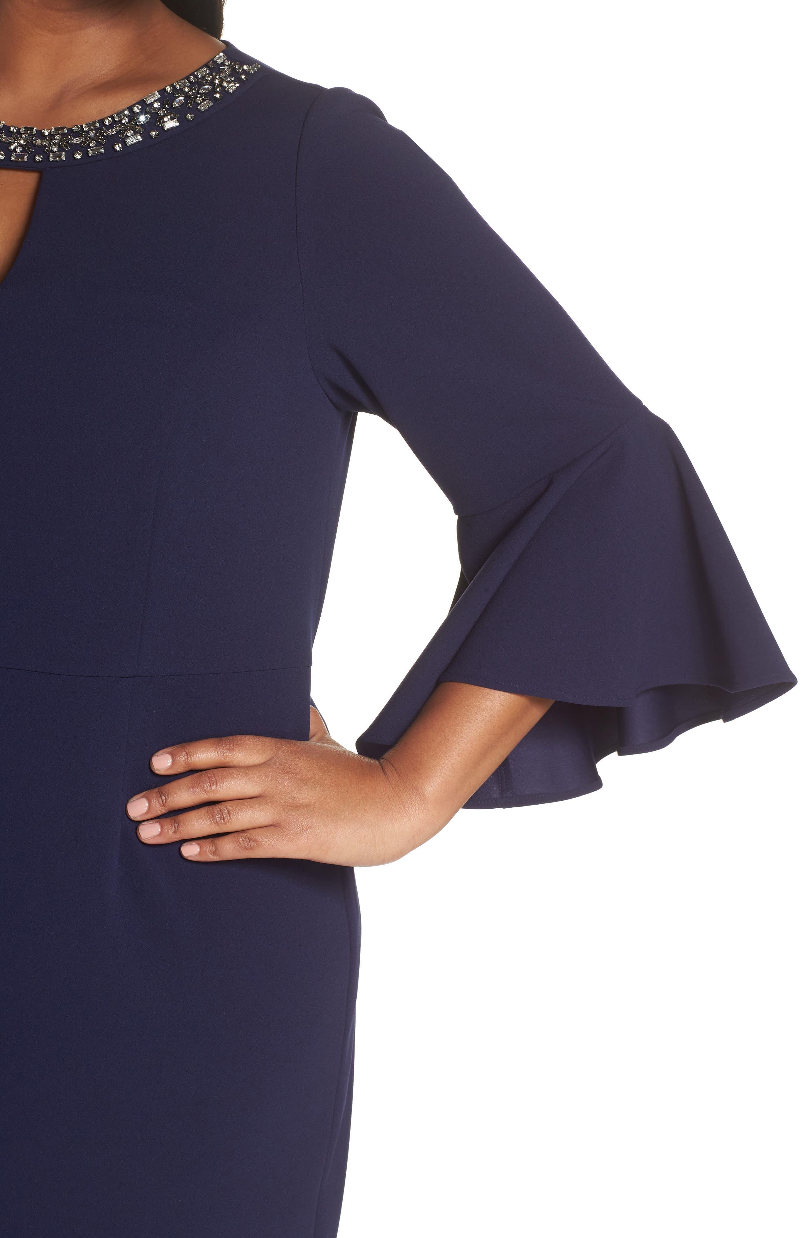 VINCE CAMUTO, Embellished Neck Sheath Dress, Alternate thumbnail 5, color, NAVY