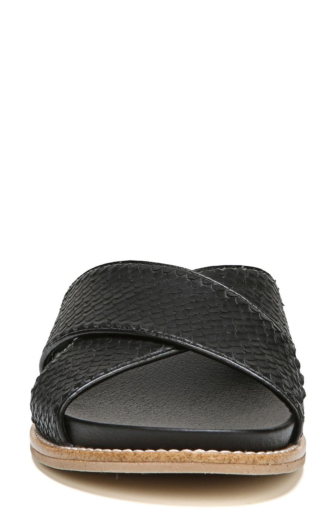 DR. SCHOLL'S, Deco Slide Sandal, Alternate thumbnail 4, color, BLACK LEATHER