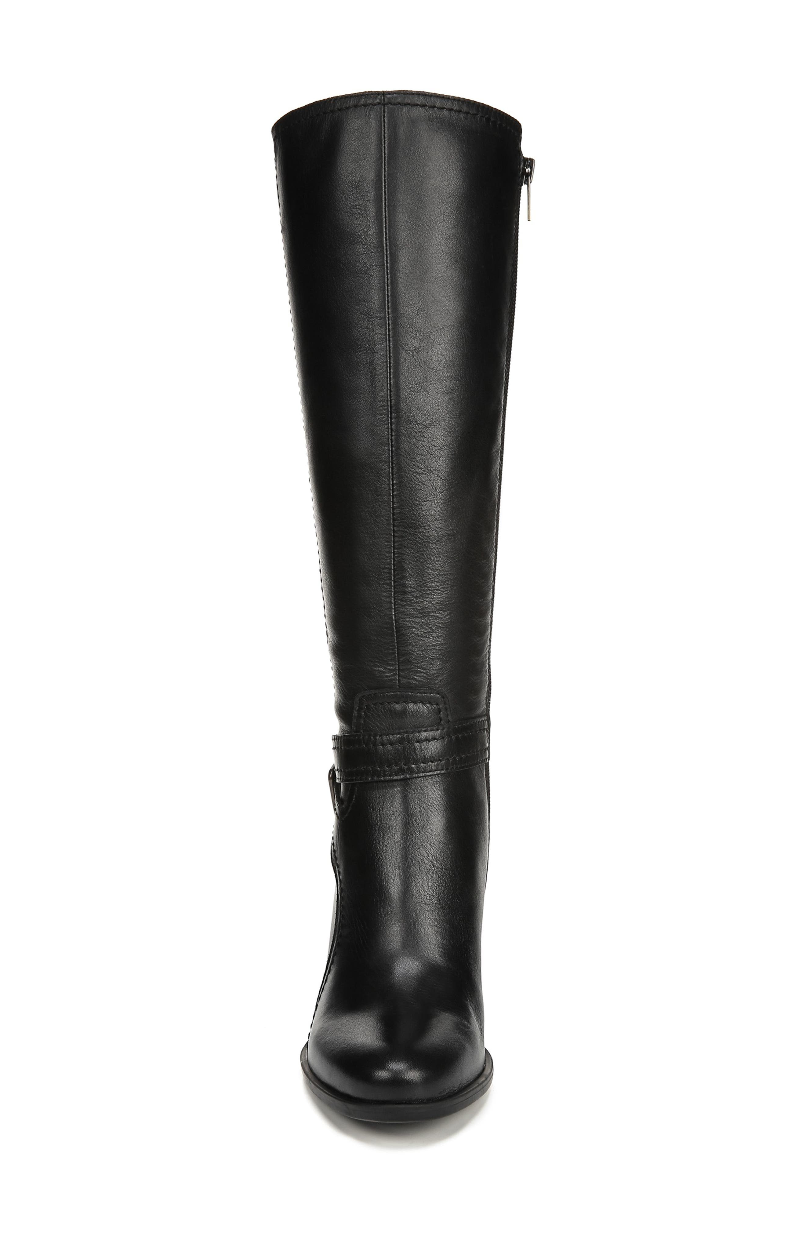 NATURALIZER, Kelsey Knee High Boot, Alternate thumbnail 4, color, BLACK LEATHER