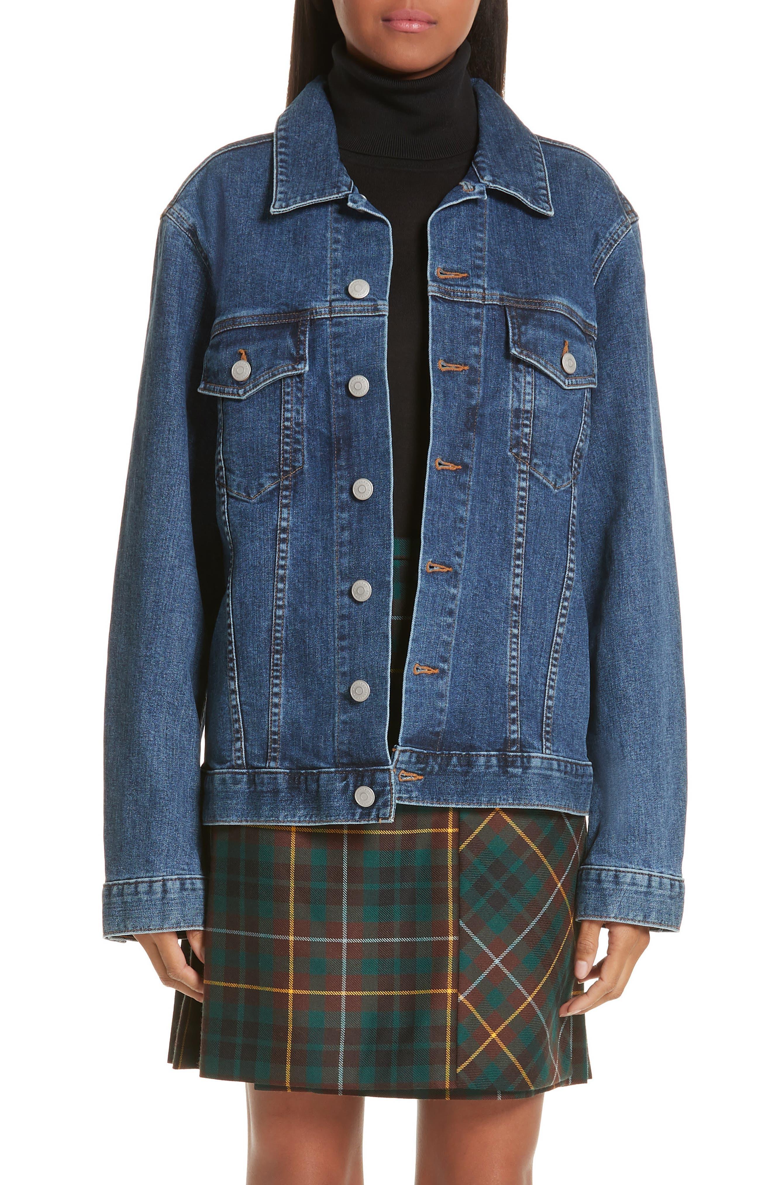 BURBERRY Rowledge Archive Logo Denim Jacket, Main, color, BLUE