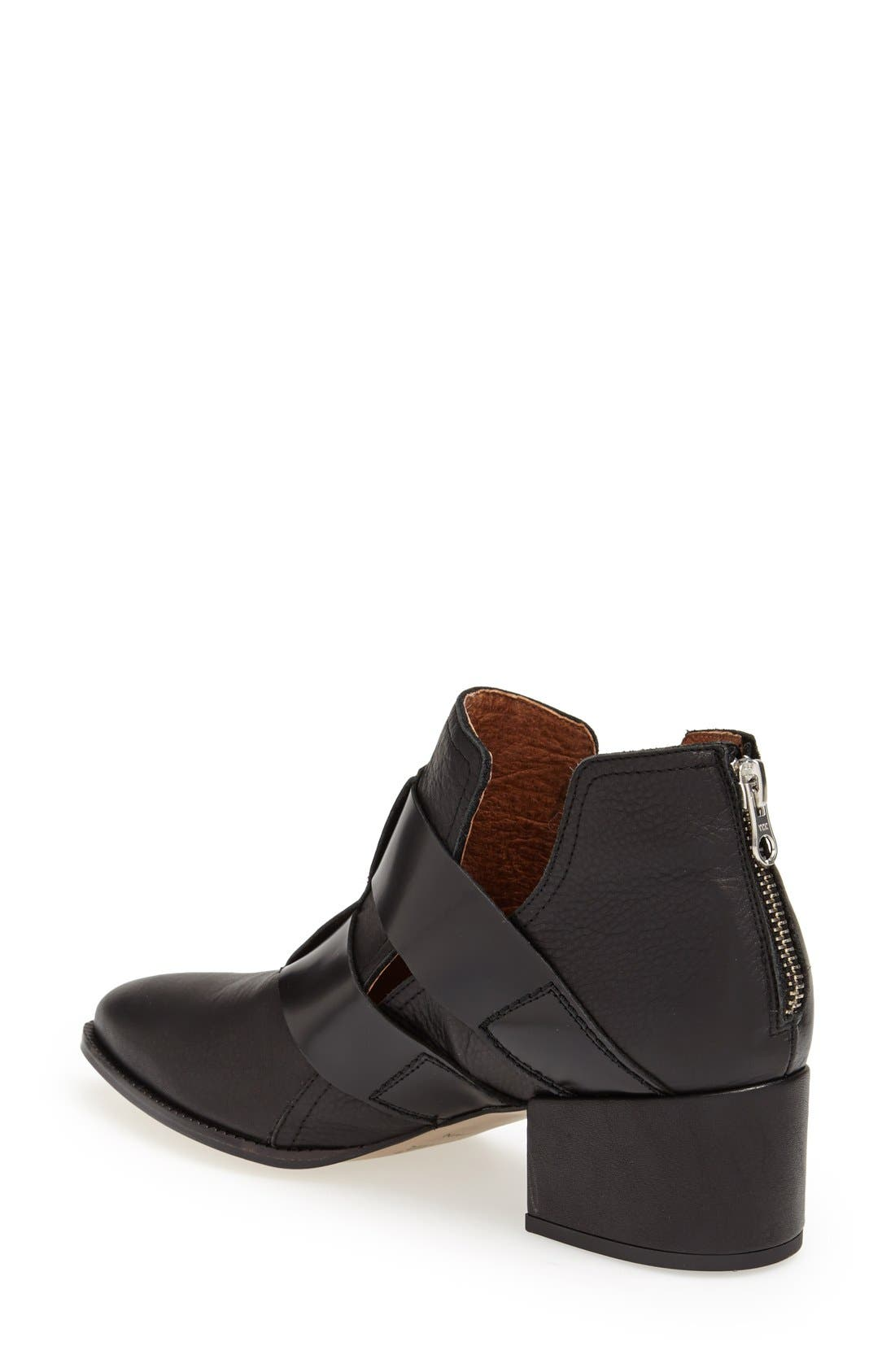 SIXTYSEVEN, 'Alice' Pointy Toe Leather Ankle Bootie, Alternate thumbnail 4, color, 001