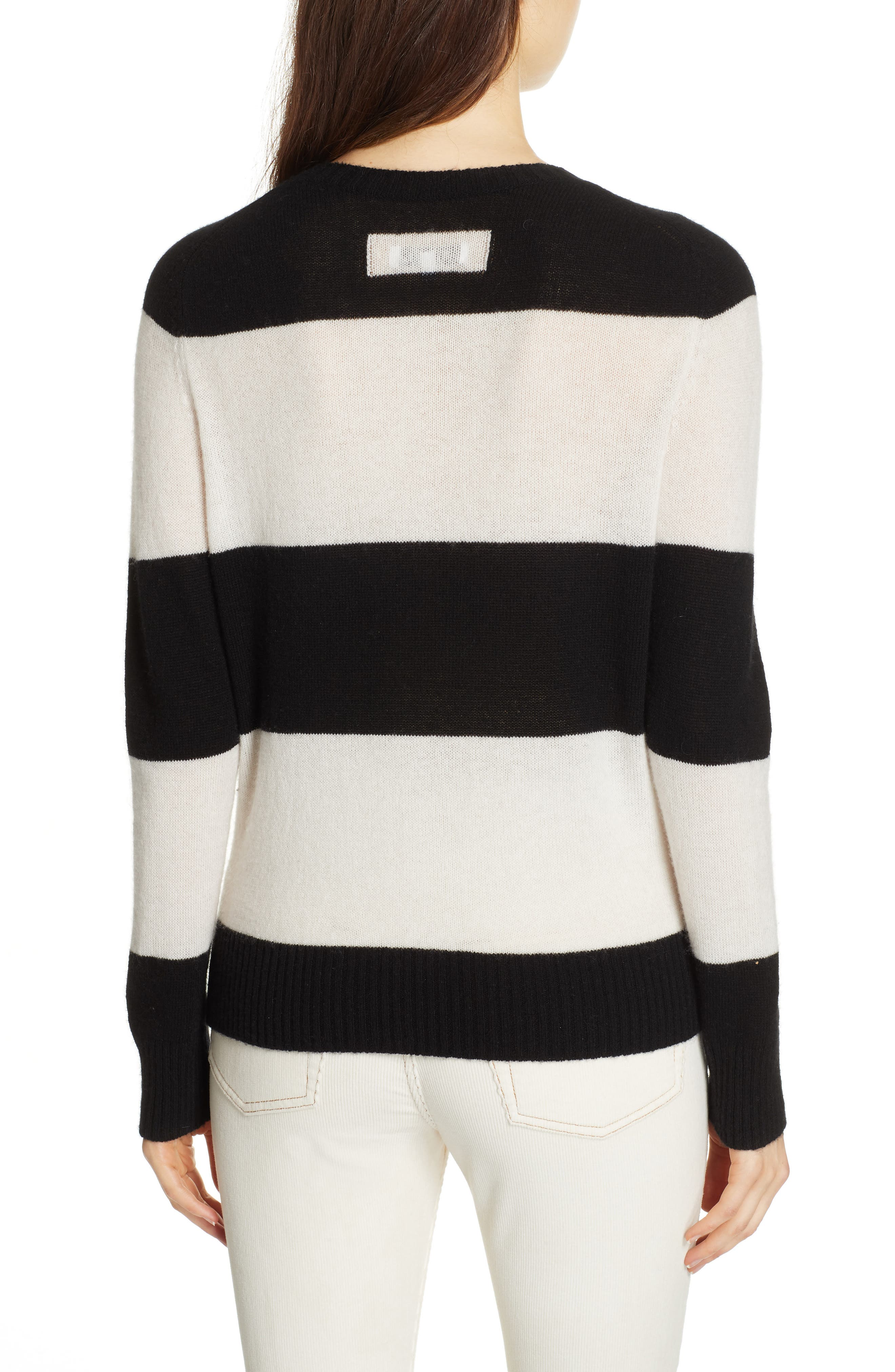 RE/DONE, Stripe Wool & Cashmere Sweater, Alternate thumbnail 2, color, BLACK/ IVORY