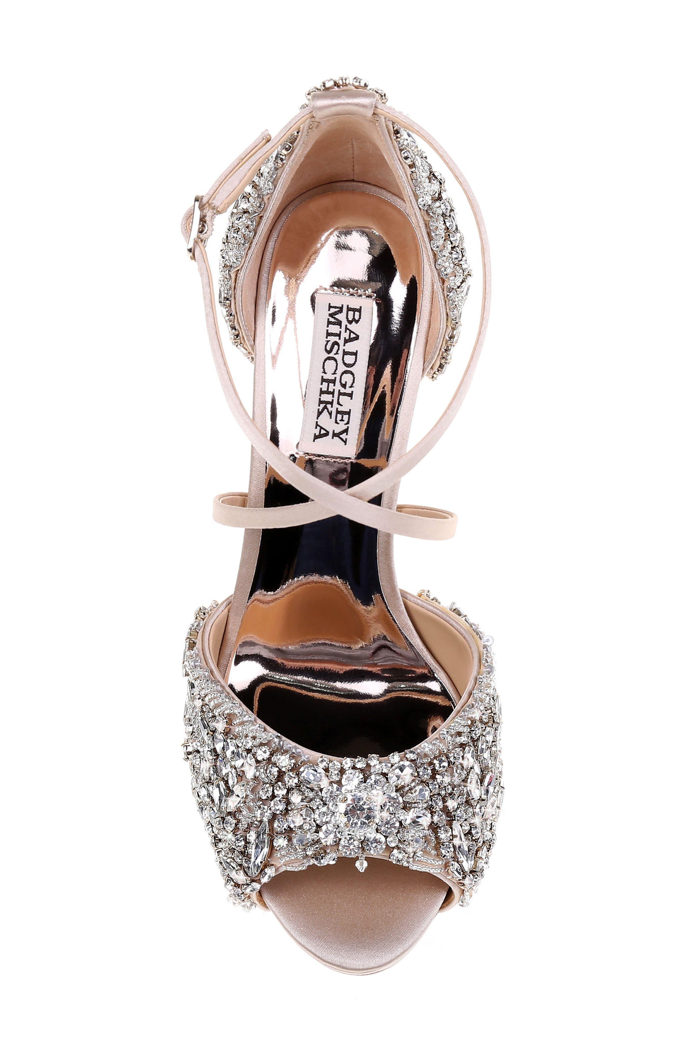 BADGLEY MISCHKA COLLECTION, Badgley Mischka Hyper Crystal Embellished Sandal, Alternate thumbnail 5, color, 100