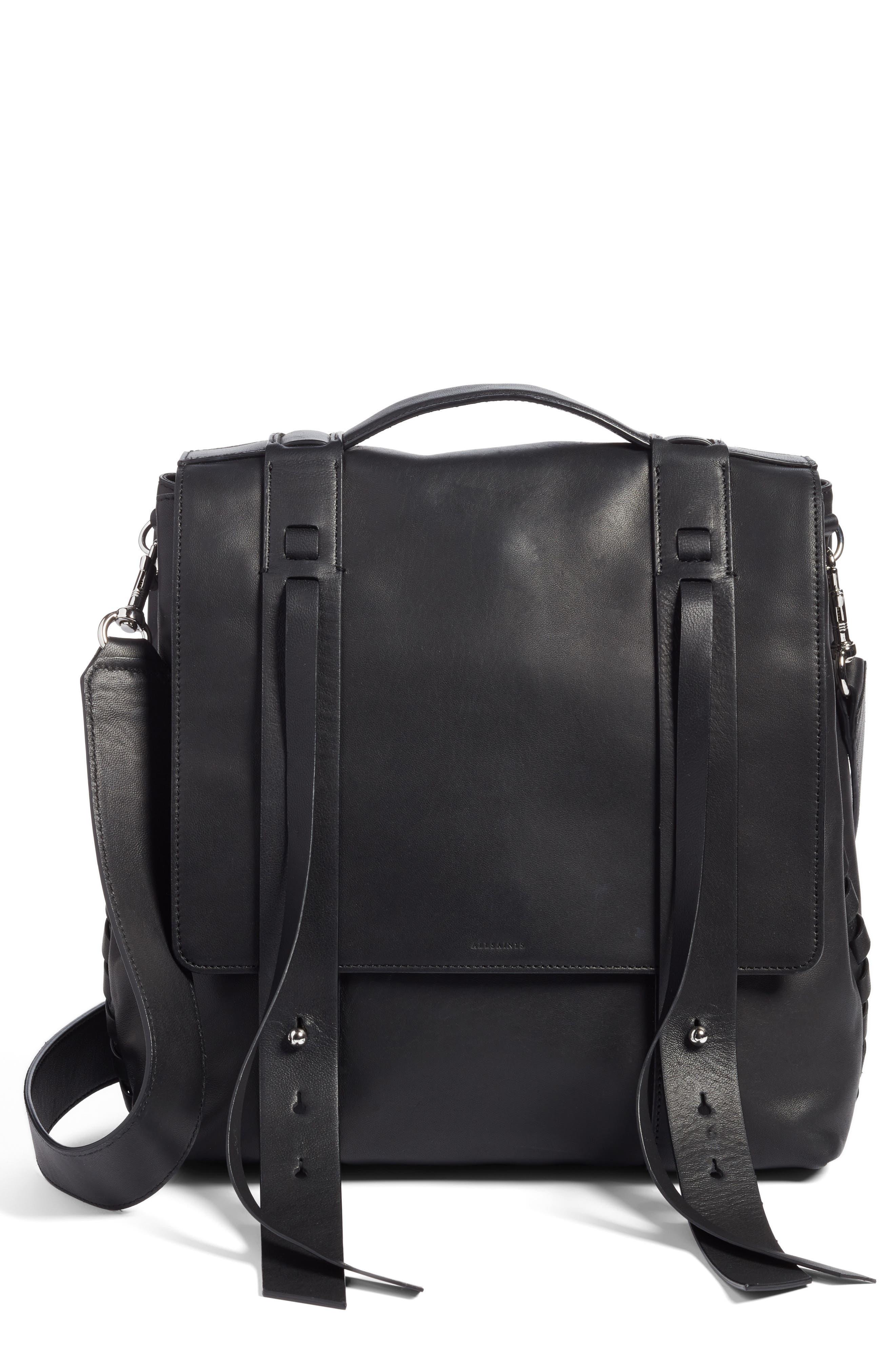ALLSAINTS Fin Leather Backpack, Main, color, BLACK