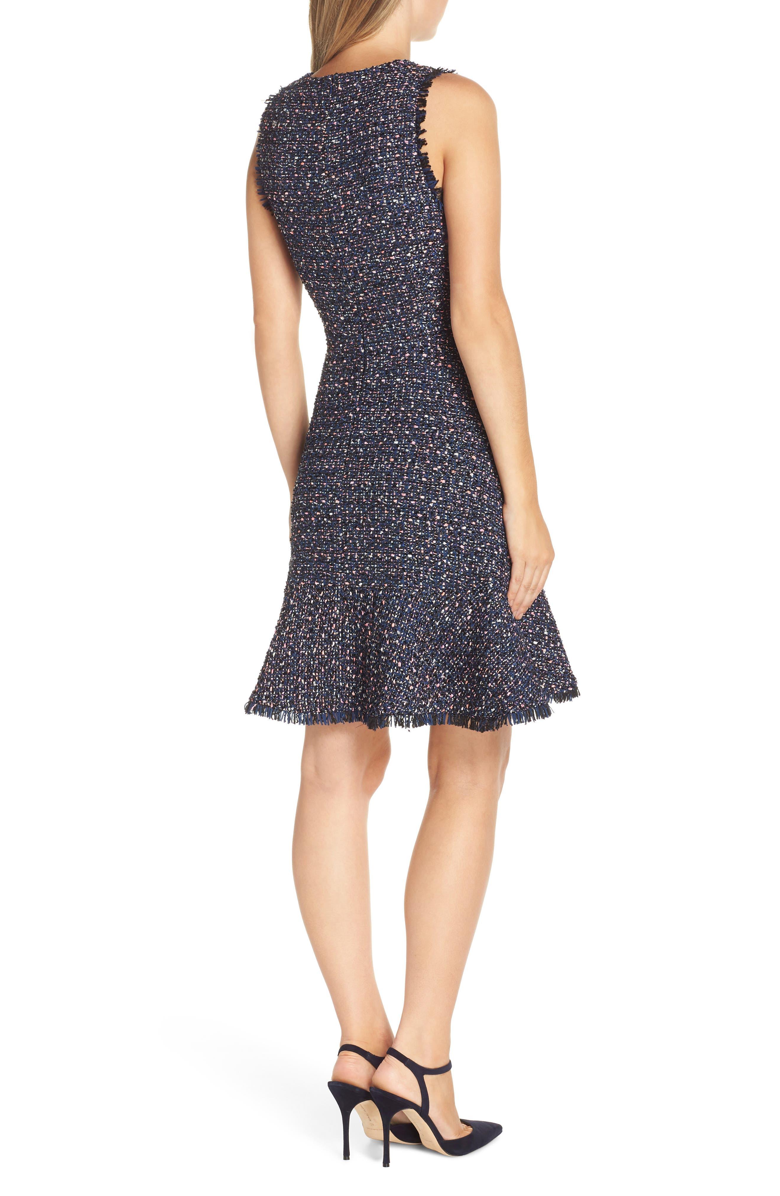ELIZA J, Sleeveless Tweed Fit & Flare Dress, Alternate thumbnail 2, color, NAVY