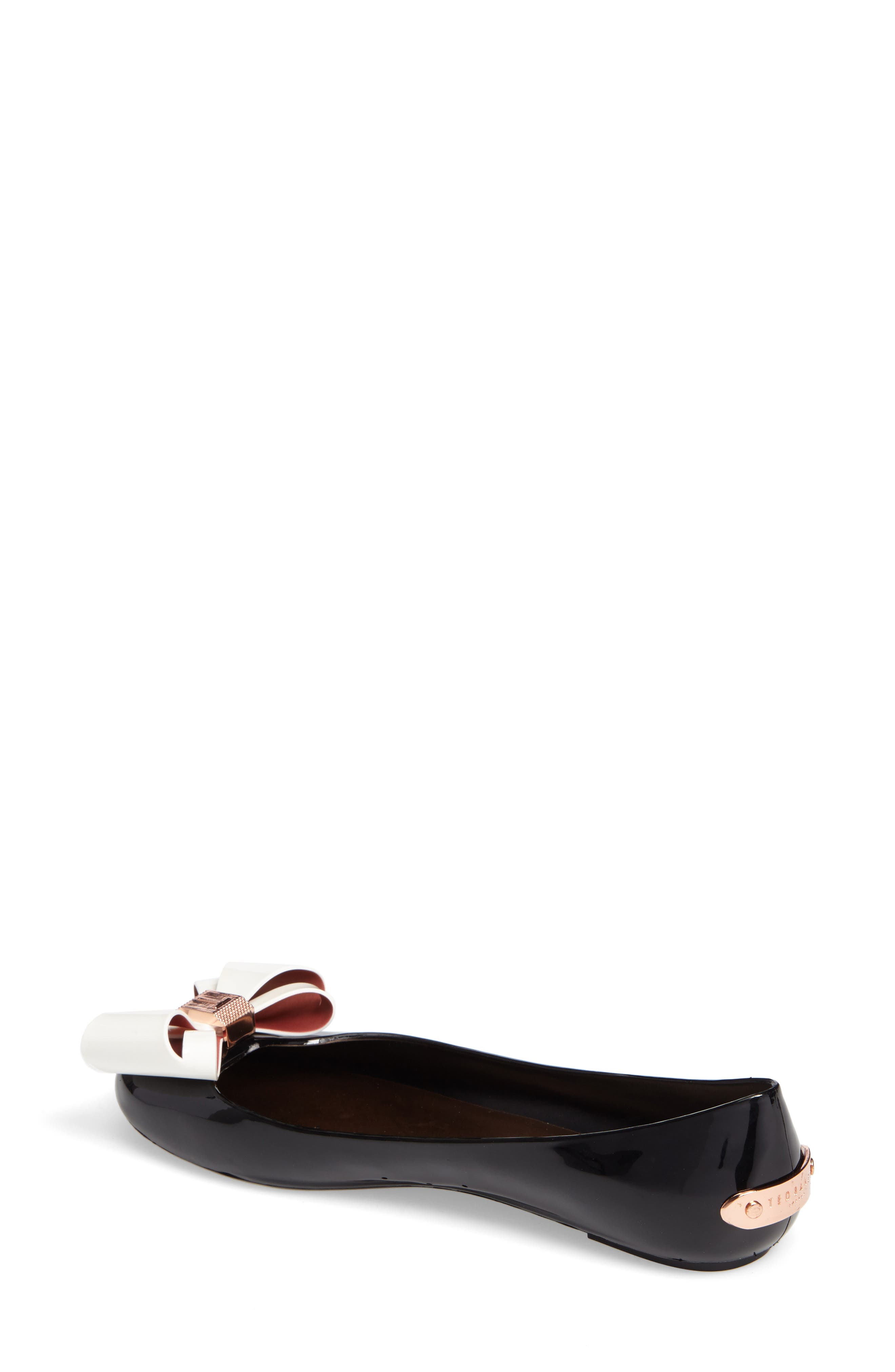 TED BAKER LONDON, Julivia Bow Flat, Alternate thumbnail 2, color, 002