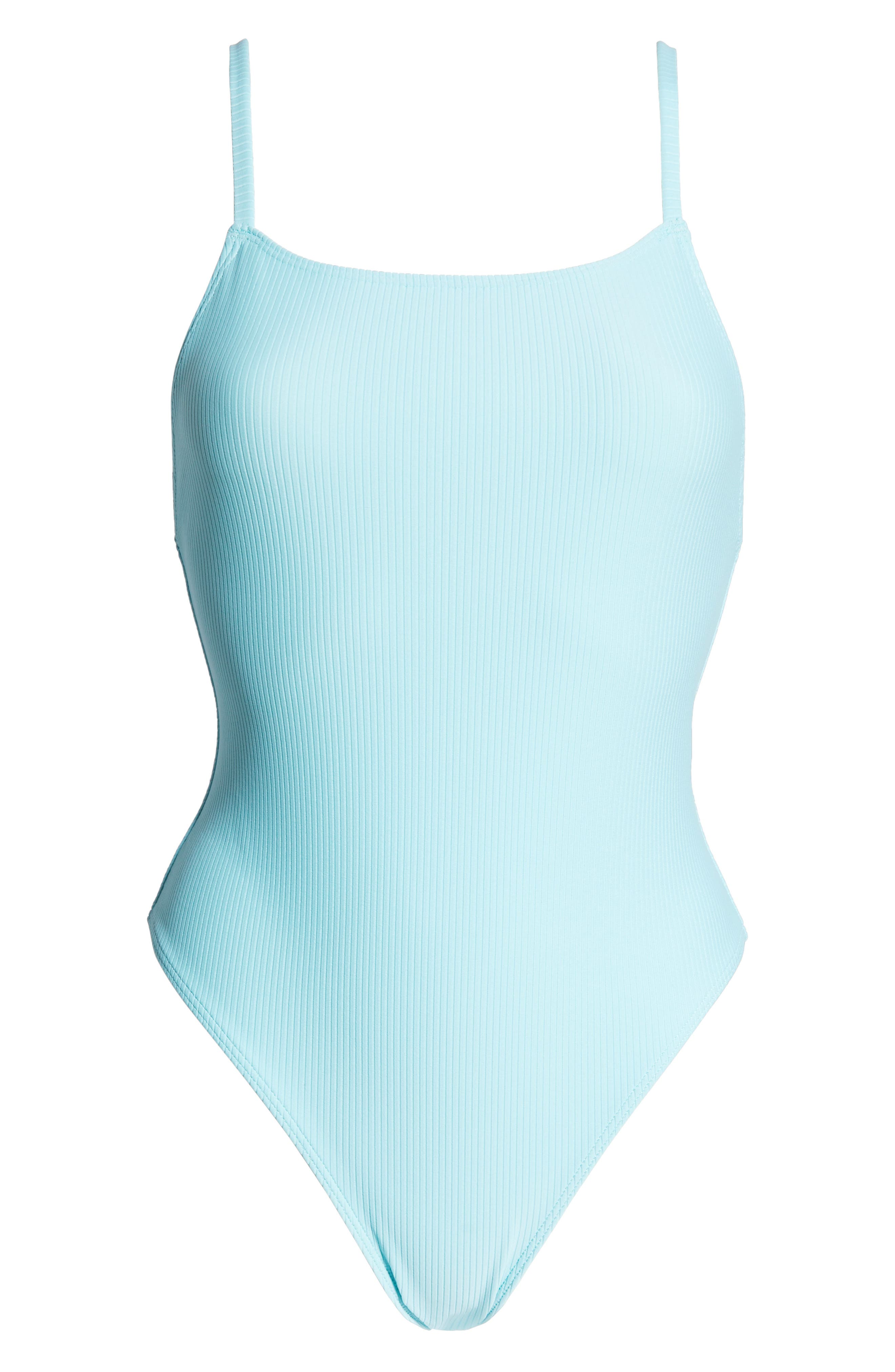 SOMETHING NAVY, Core Ribbed One-Piece Swimsuit, Alternate thumbnail 7, color, BLUE GULF