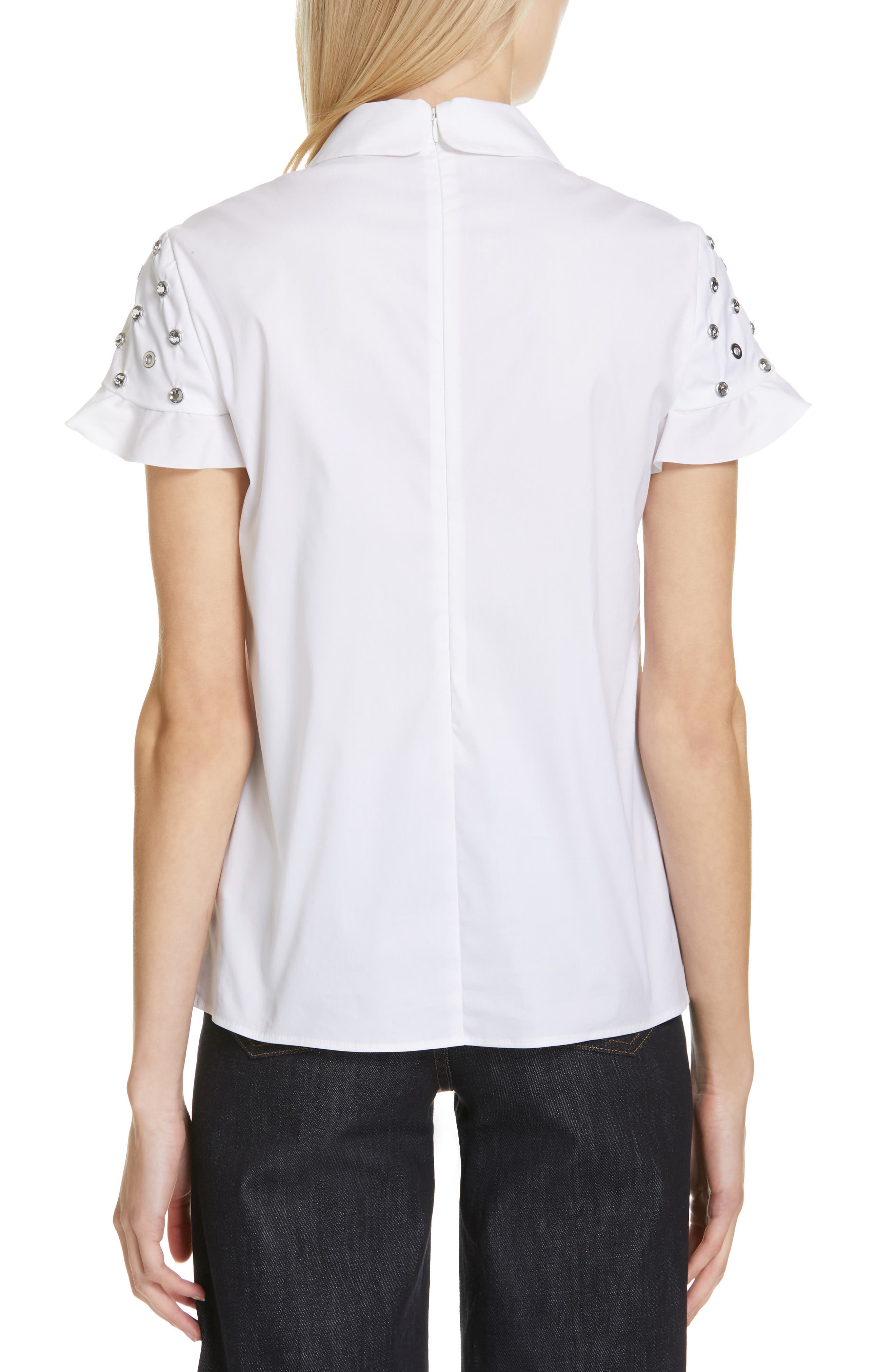 RED VALENTINO, Grommet & Crystal Ruffle Sleeve Top, Alternate thumbnail 2, color, BIANCO OTTICO