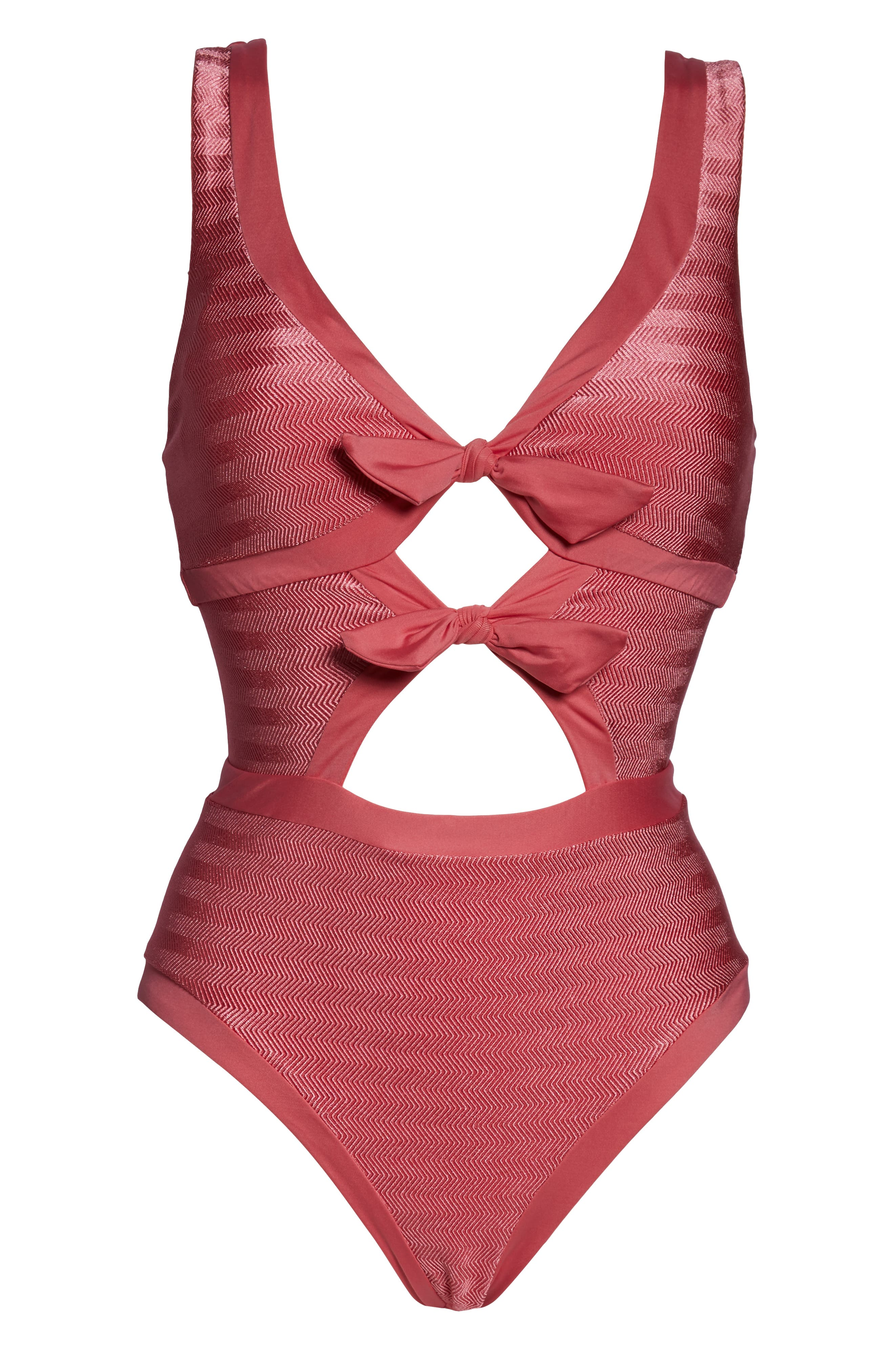 BECCA, Canyon Mesa One-Piece Swimsuit, Alternate thumbnail 3, color, BAKED BLUSH