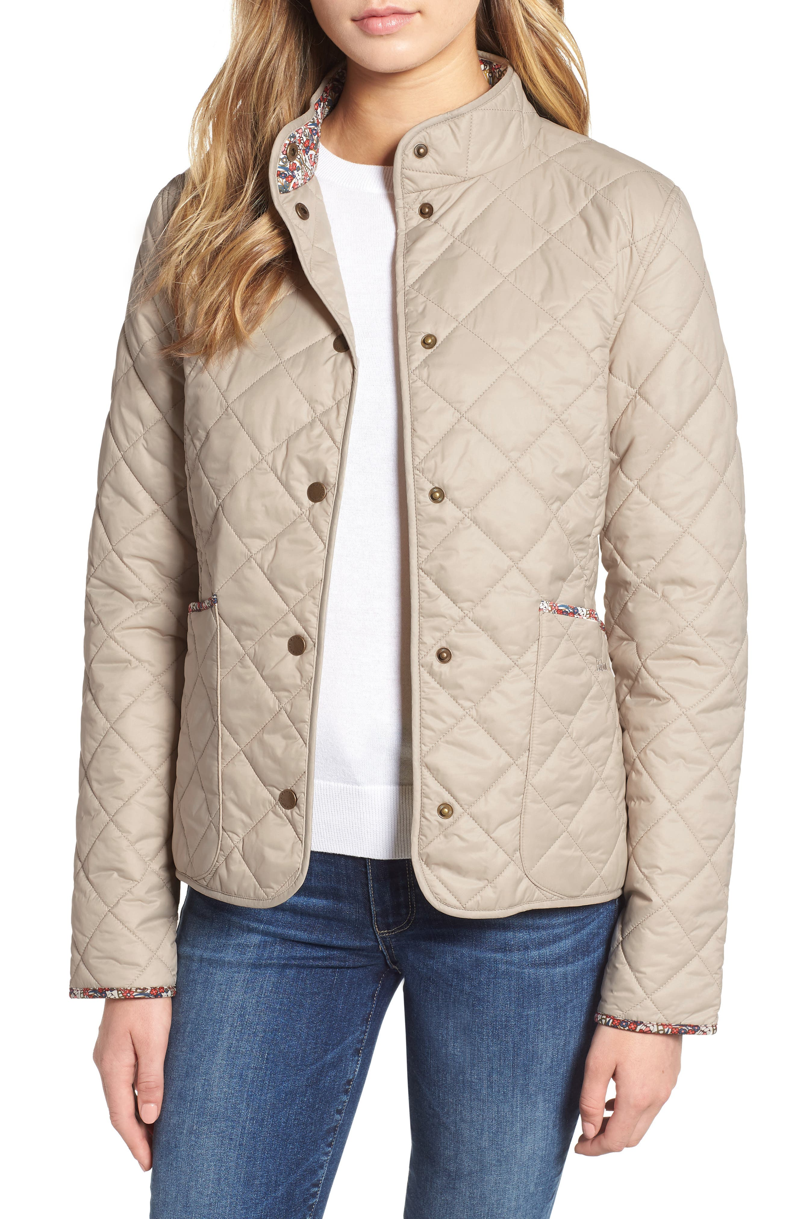 BARBOUR, x Liberty Evelyn Quilted Jacket, Main thumbnail 1, color, MIST/ MORRIS BUTTERFLY