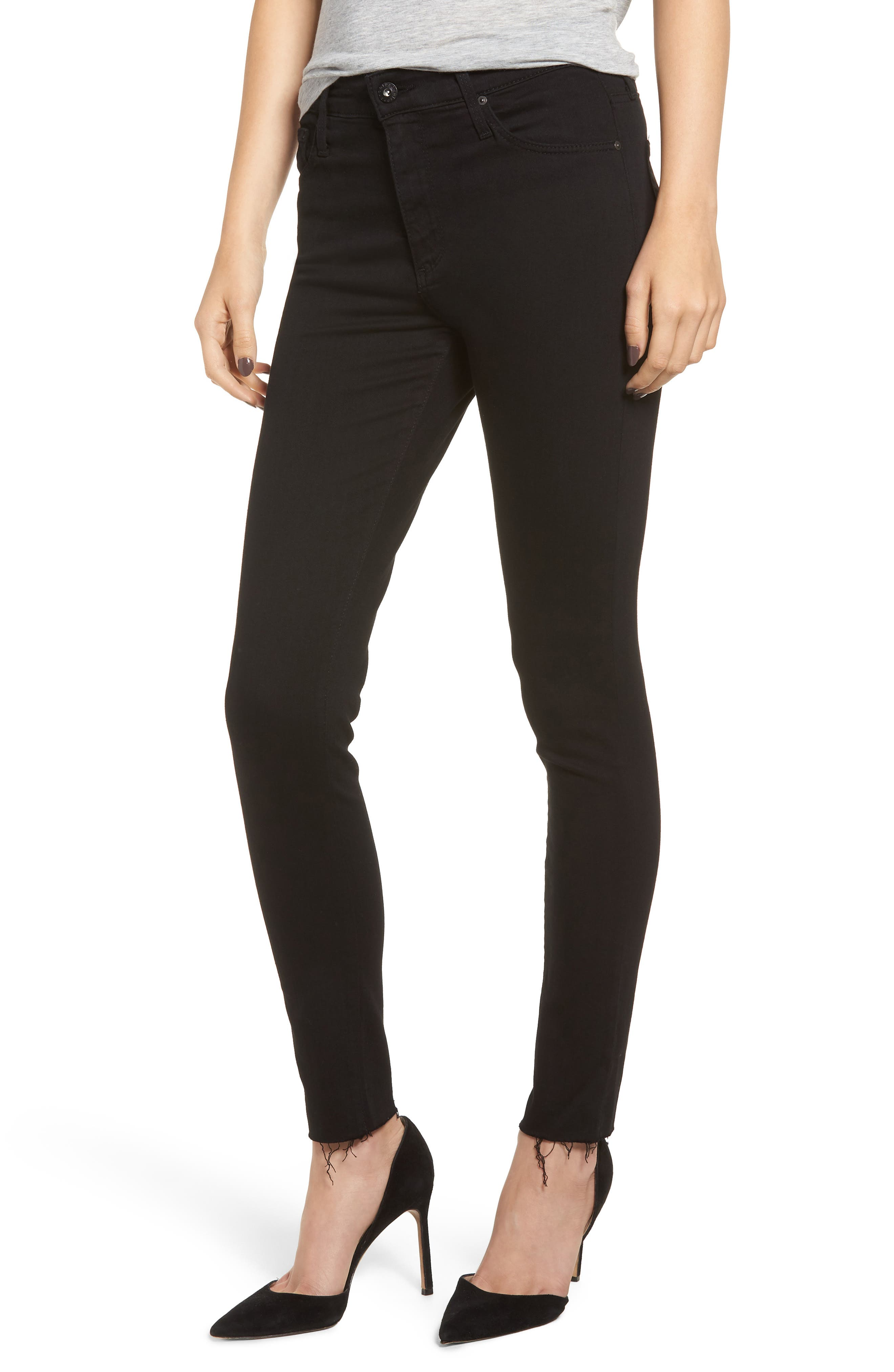 AG The Farrah High Waist Raw Hem Ankle Skinny Jeans, Main, color, BLACK INK