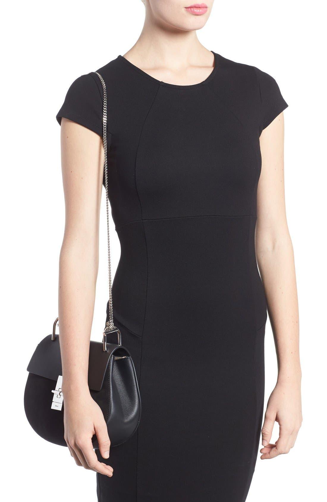 CHLOÉ, Small Drew Leather & Suede Shoulder Bag, Alternate thumbnail 2, color, 001