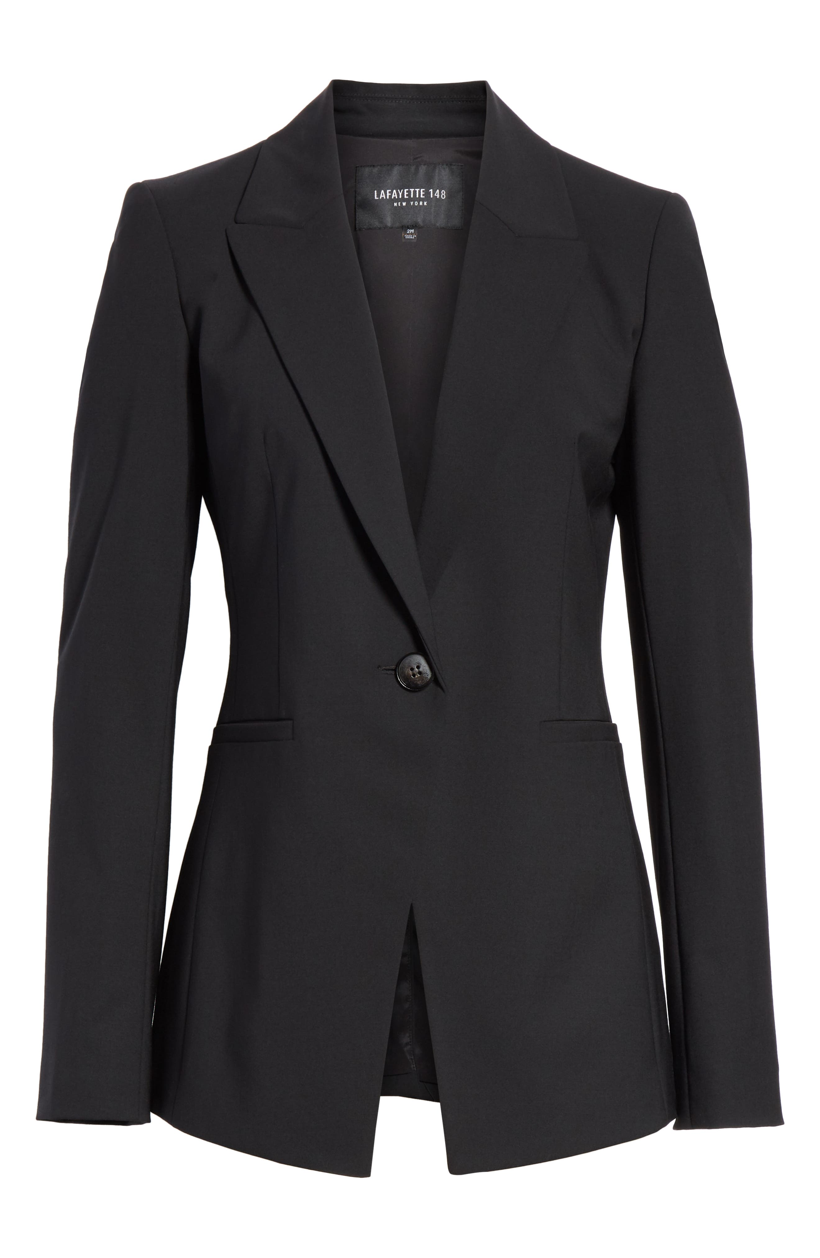LAFAYETTE 148 NEW YORK, Charice Stretch Wool Jacket, Alternate thumbnail 7, color, BLACK