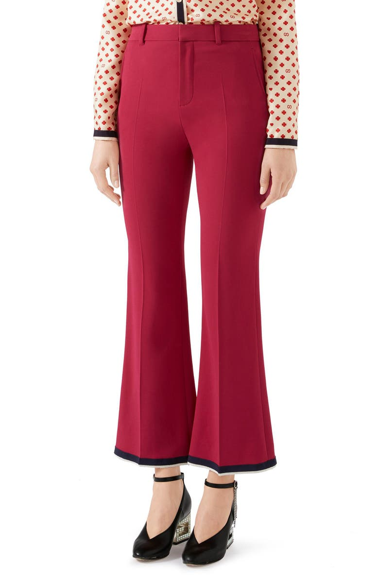 Gucci Stretch Cady Crop Bootcut Pants In Raspberry Cake