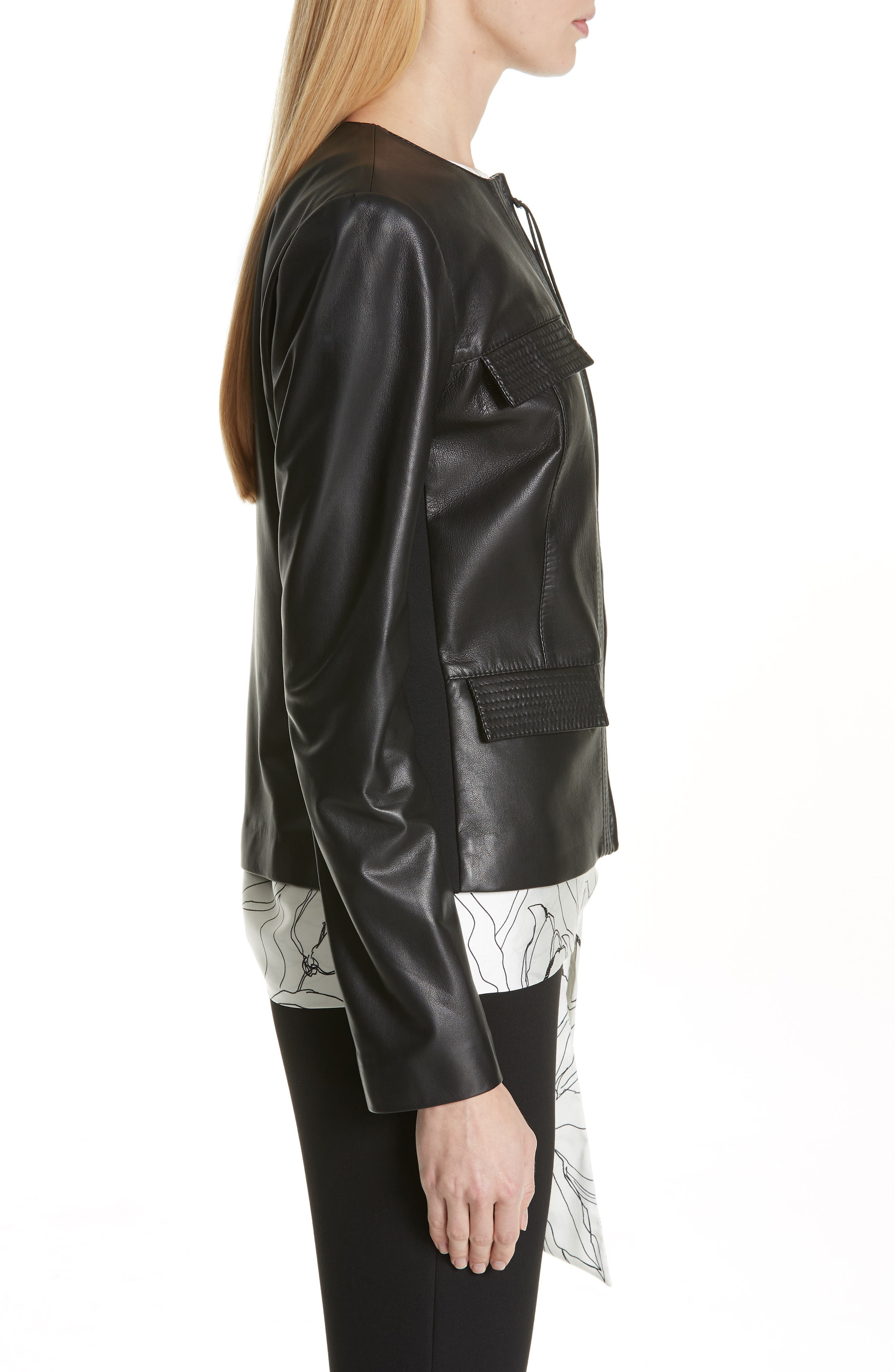 ST. JOHN COLLECTION, Luxe Nappa Leather Jacket, Alternate thumbnail 4, color, CAVIAR