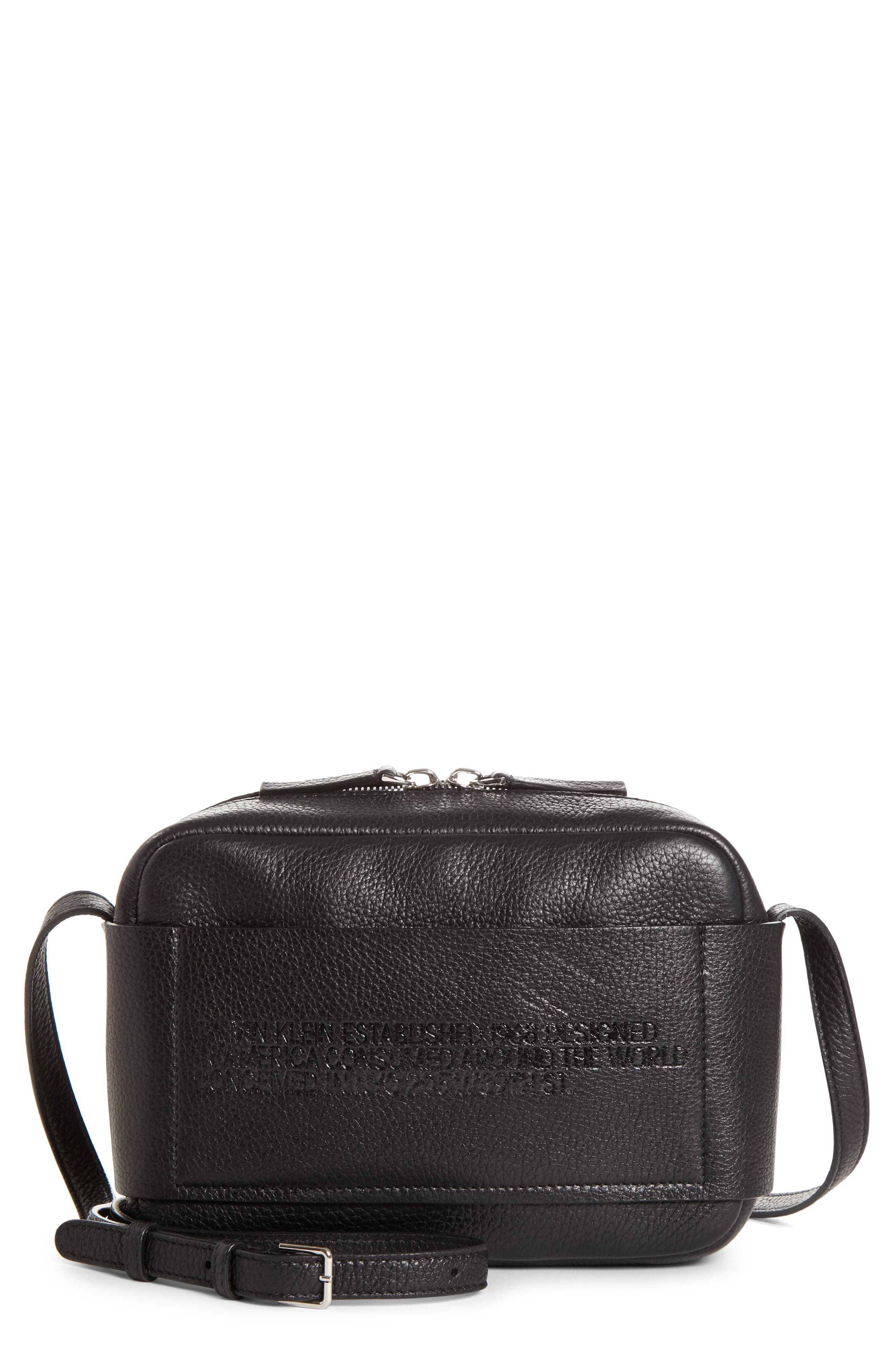 CALVIN KLEIN 205W39NYC, Belle Leather Camera Bag, Main thumbnail 1, color, BLACK