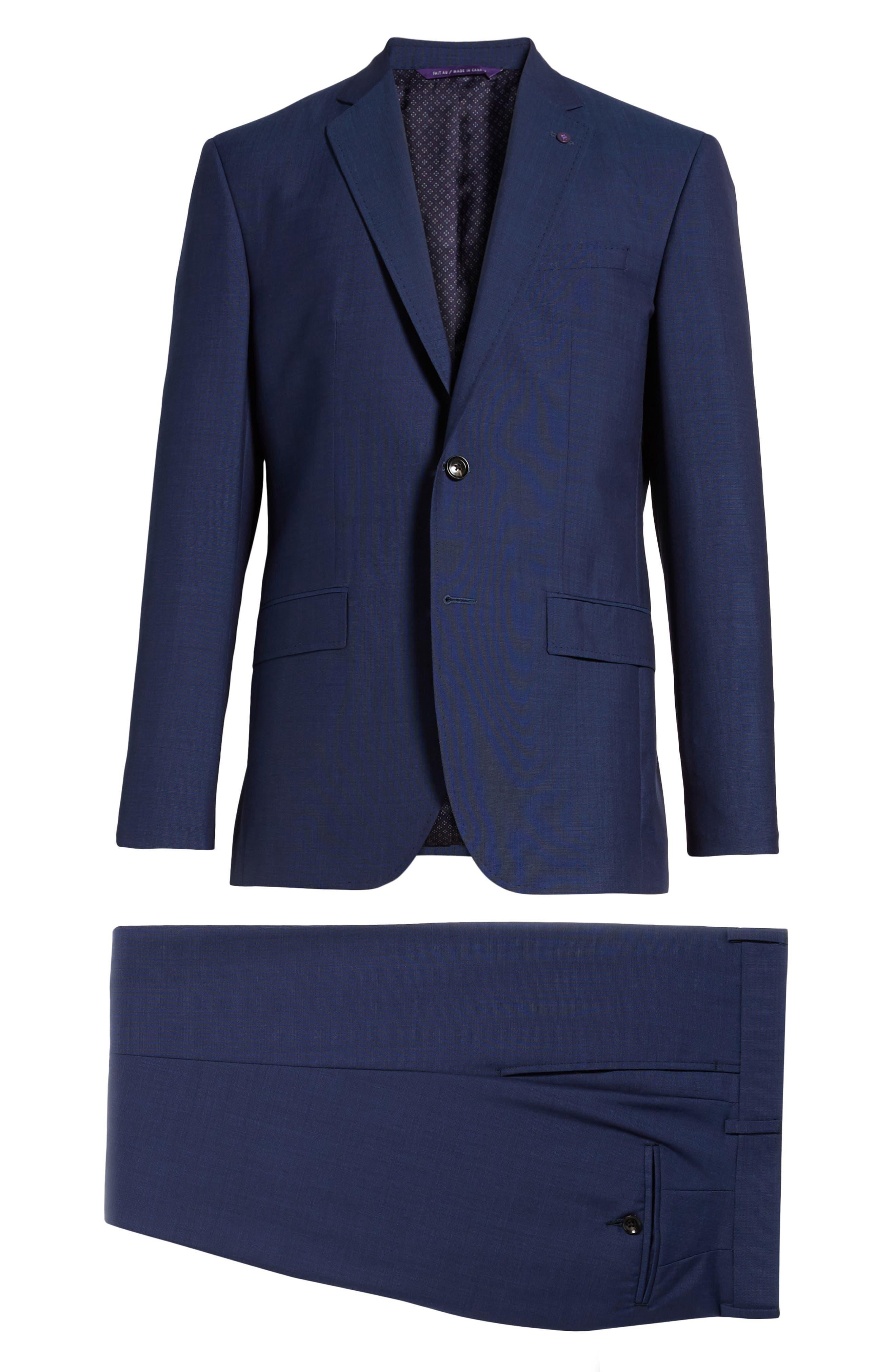 TED BAKER LONDON, Jay Trim Fit Suit, Alternate thumbnail 8, color, BLUE