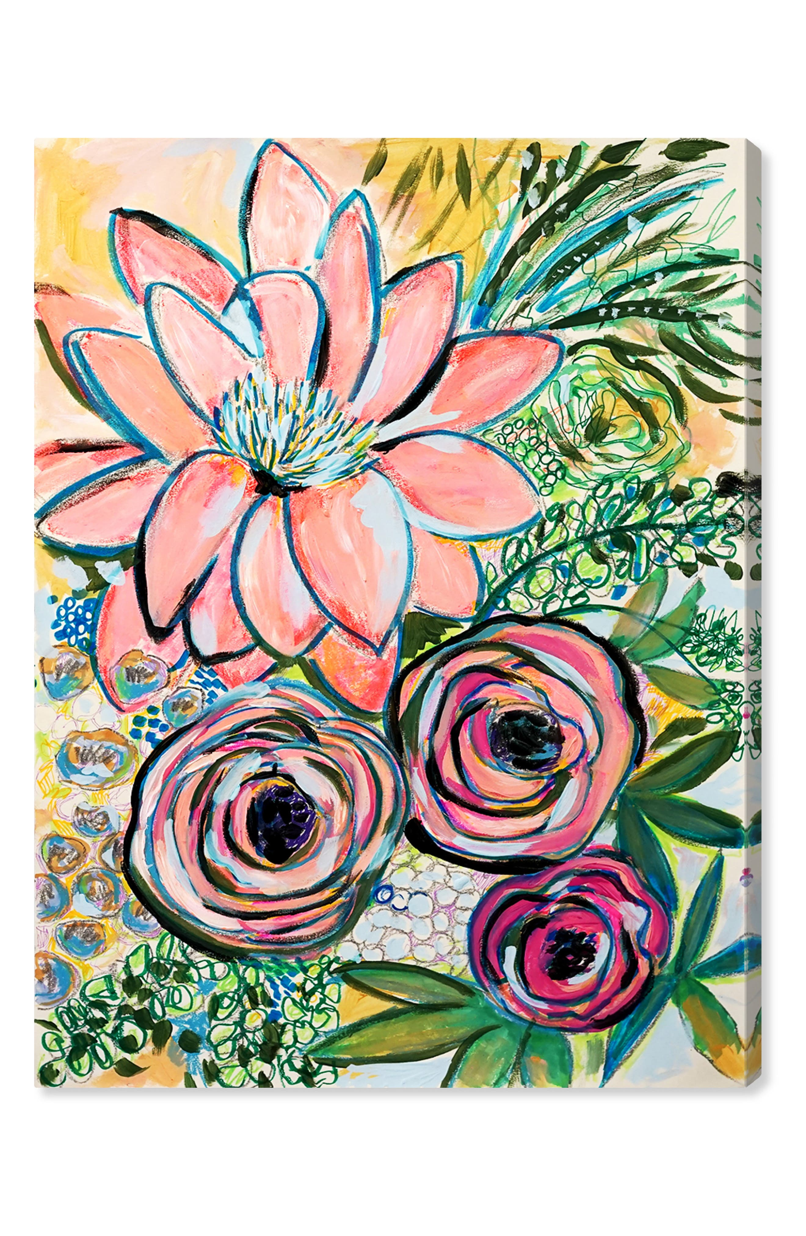 OLIVER GAL, Peonies Party of 2 Canvas Wall Art, Main thumbnail 1, color, GREEN PINK
