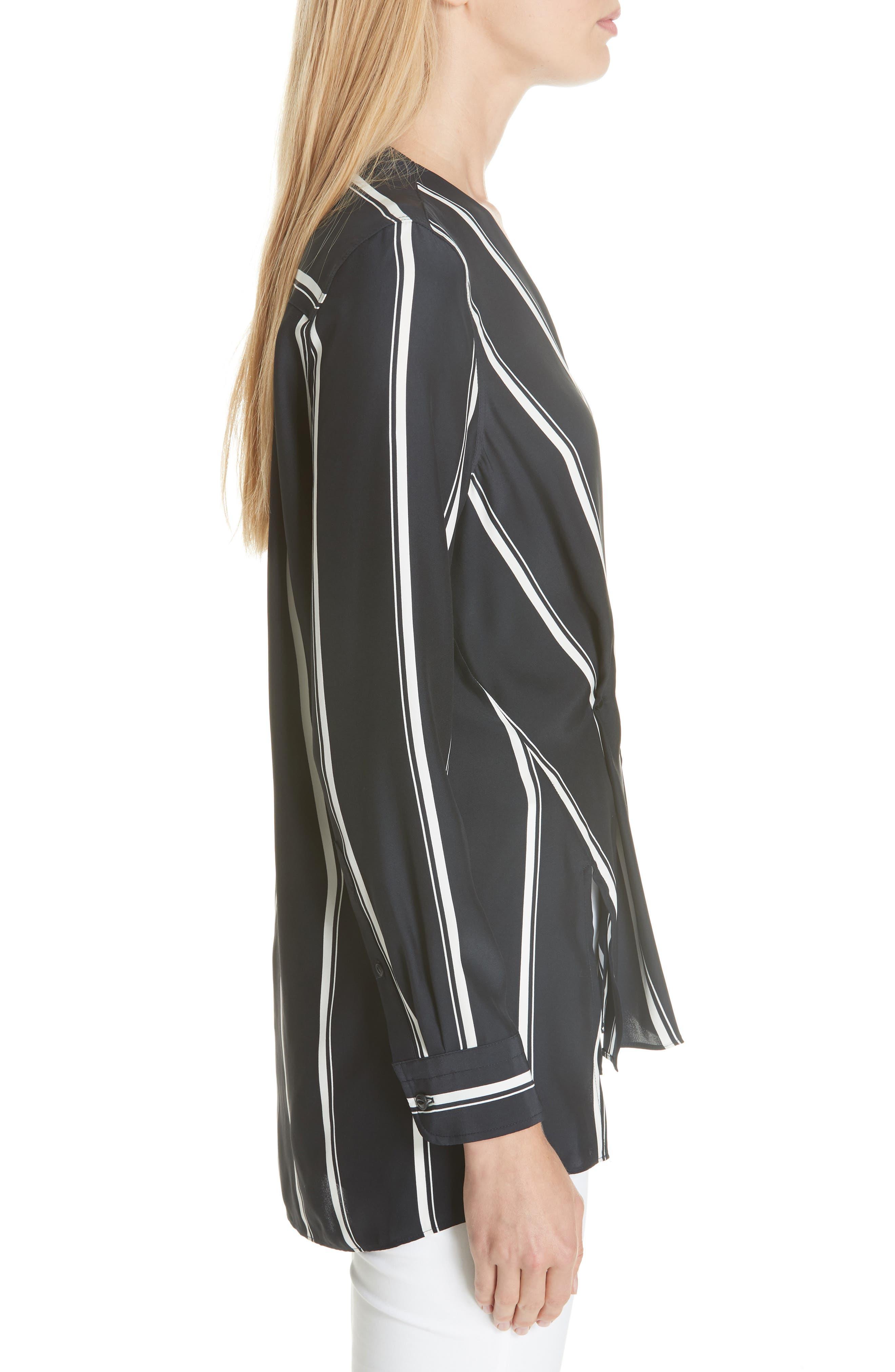 RAG & BONE, Debbie Stripe Silk Blouse, Alternate thumbnail 3, color, NAVY STRIPE