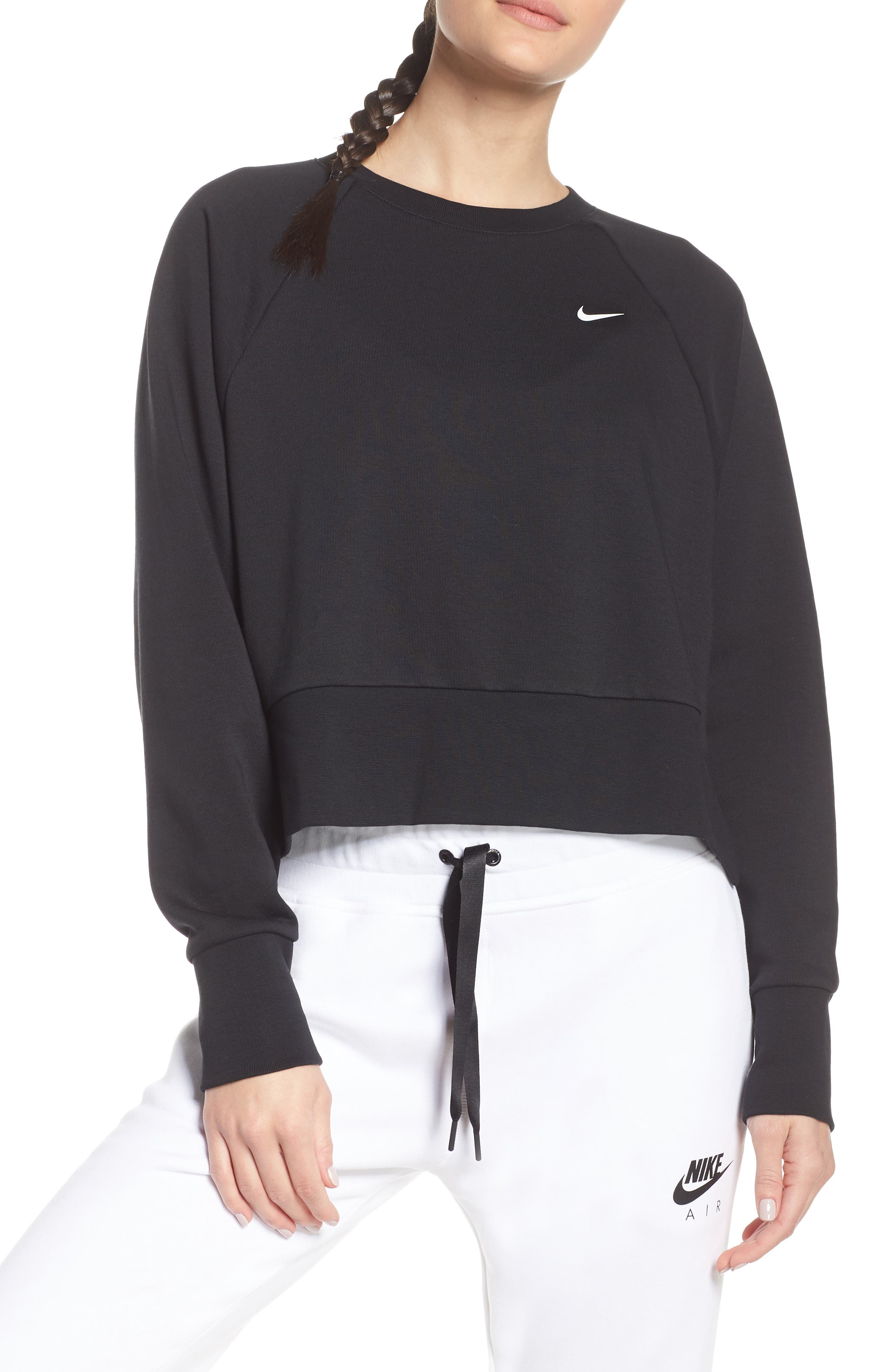 NIKE, Dry Cropped Training Sweatshirt, Main thumbnail 1, color, BLACK/ WHITE