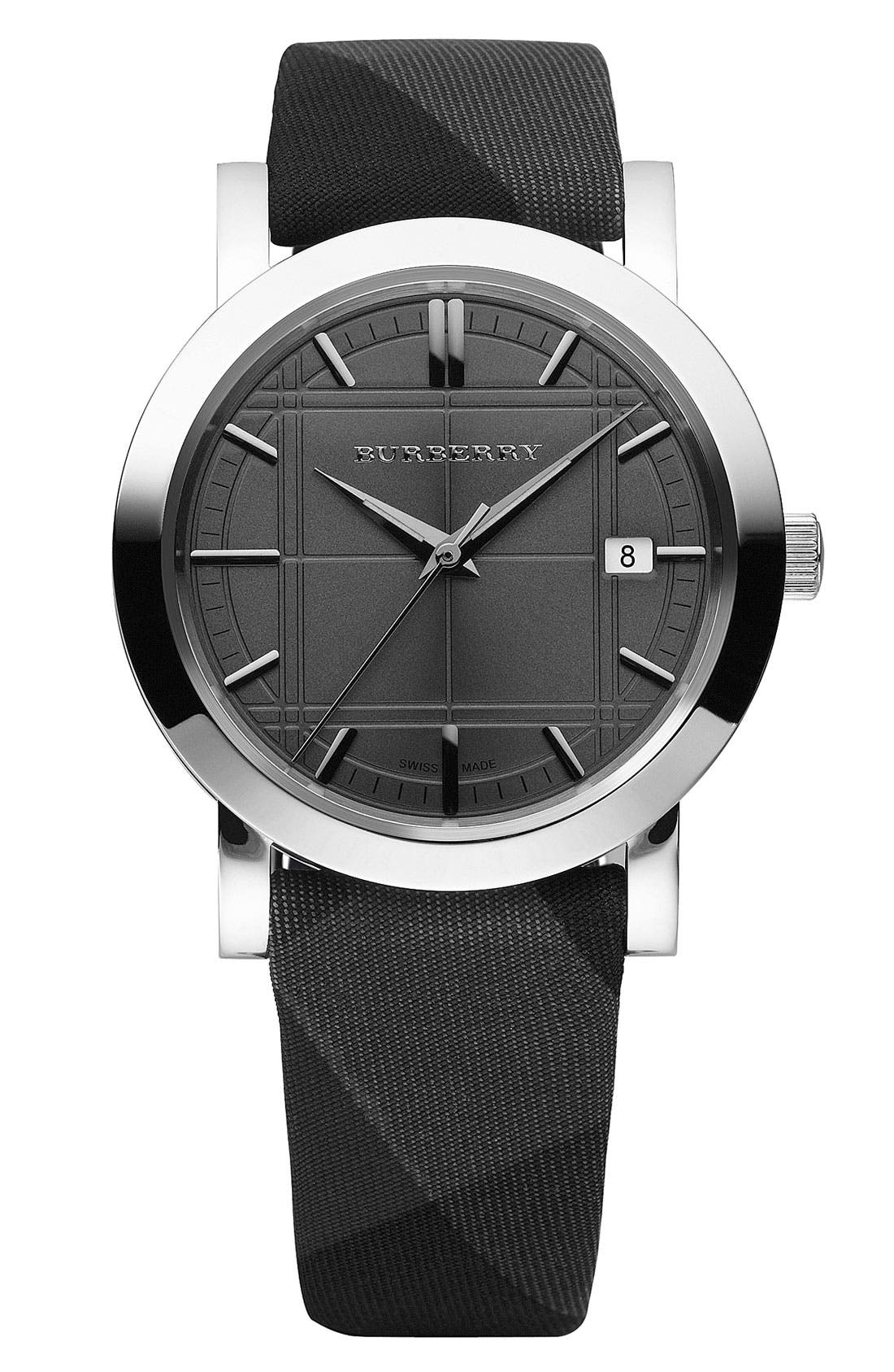 BURBERRY, Stainless Steel Round Case Watch, Main thumbnail 1, color, 001