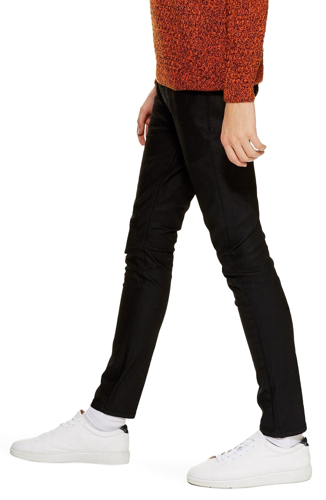TOPMAN, Coated Denim Skinny Jeans, Alternate thumbnail 4, color, BLACK
