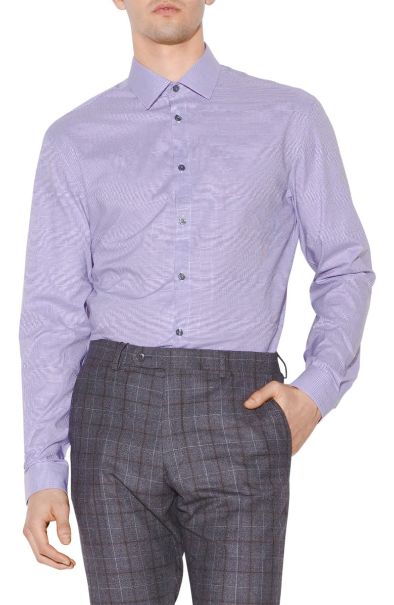 John Varvatos Dresses SLIM FIT MICRO GINGHAM DRESS SHIRT