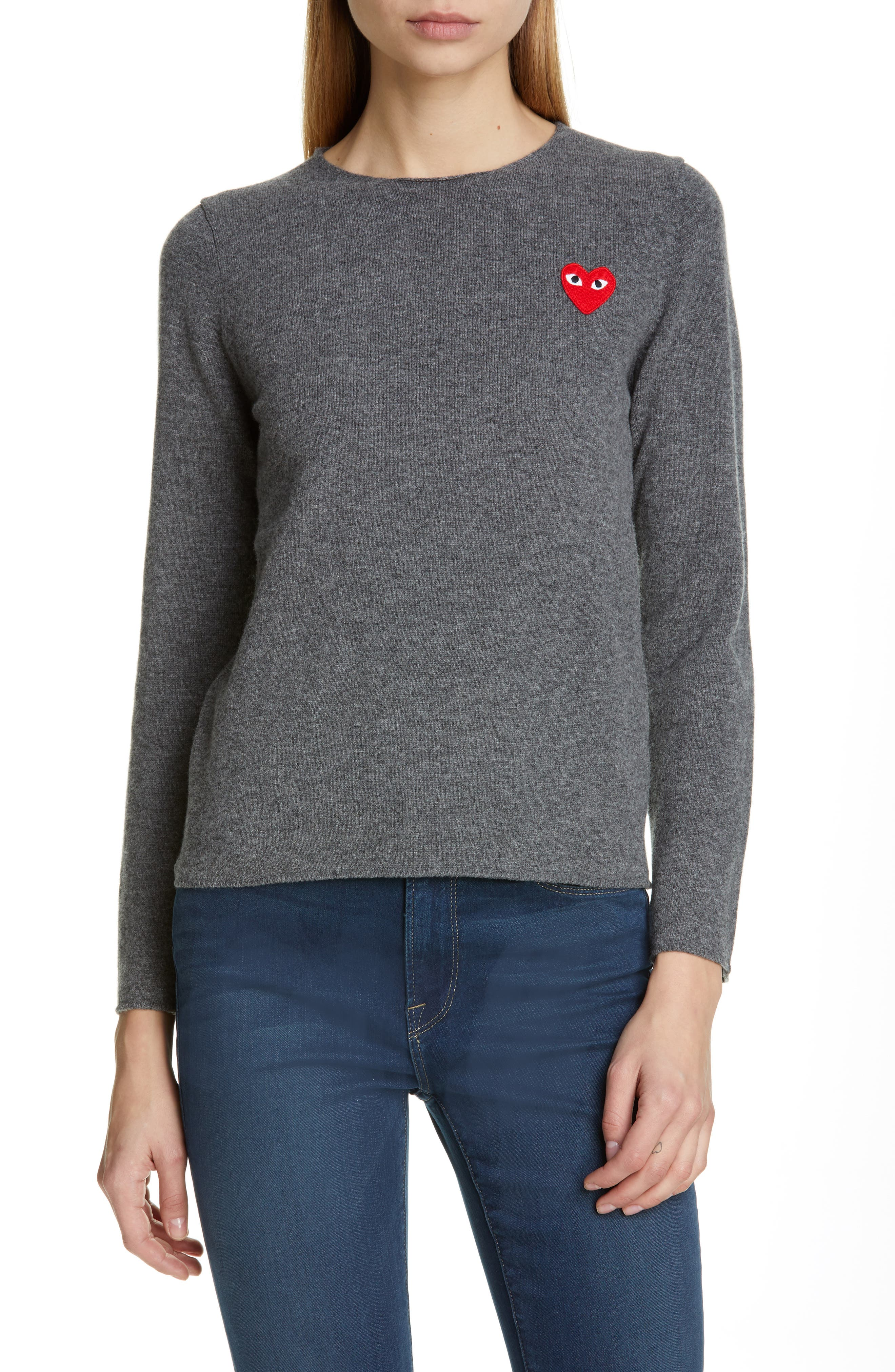 Comme Des Garcons Play Wool Sweater, Grey
